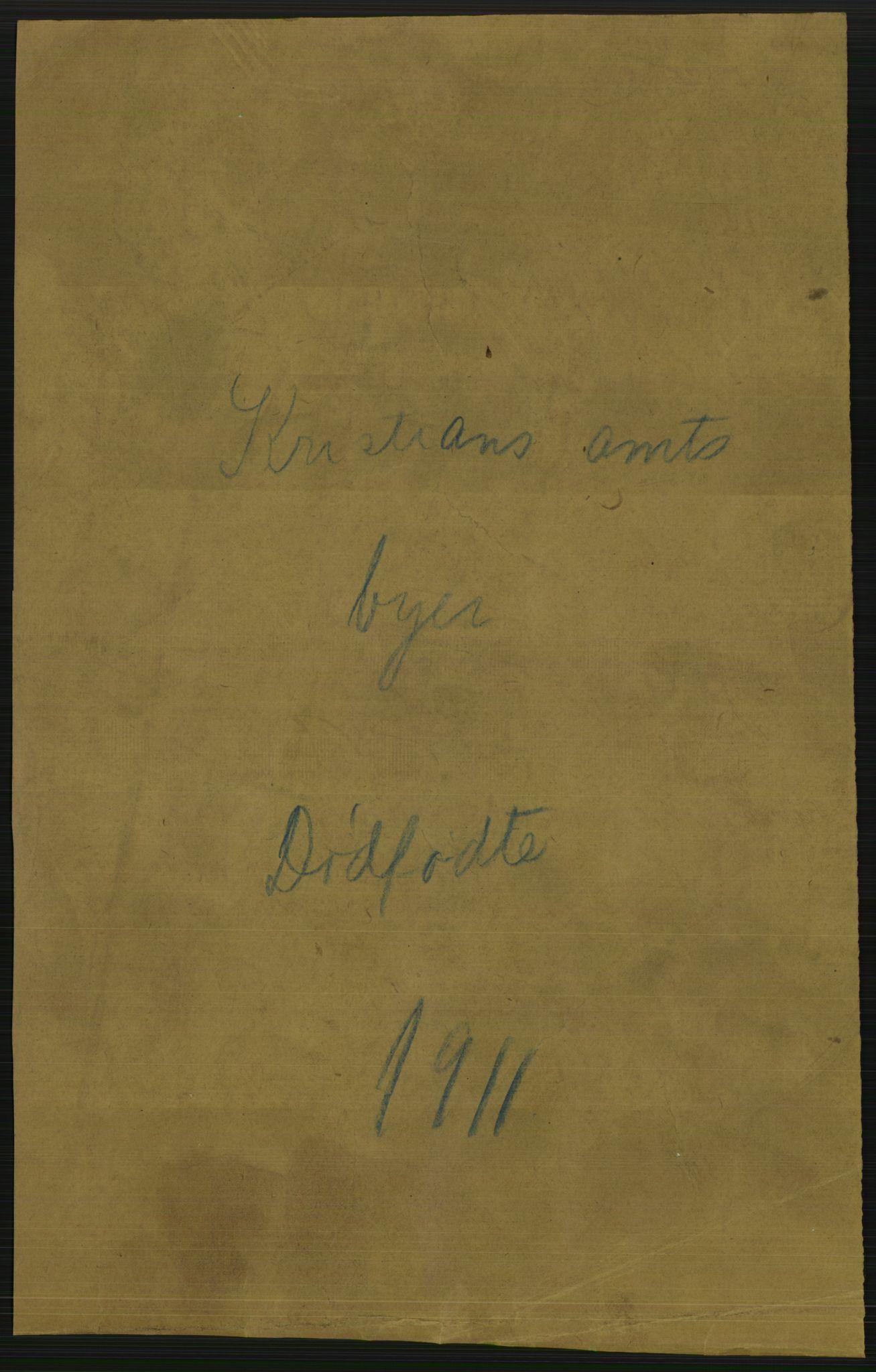RA, Statistisk sentralbyrå, Sosiodemografiske emner, Befolkning, D/Df/Dfb/Dfba/L0014: Kristians amt:  Gifte, døde, dødfødte. Bygder og byer., 1911