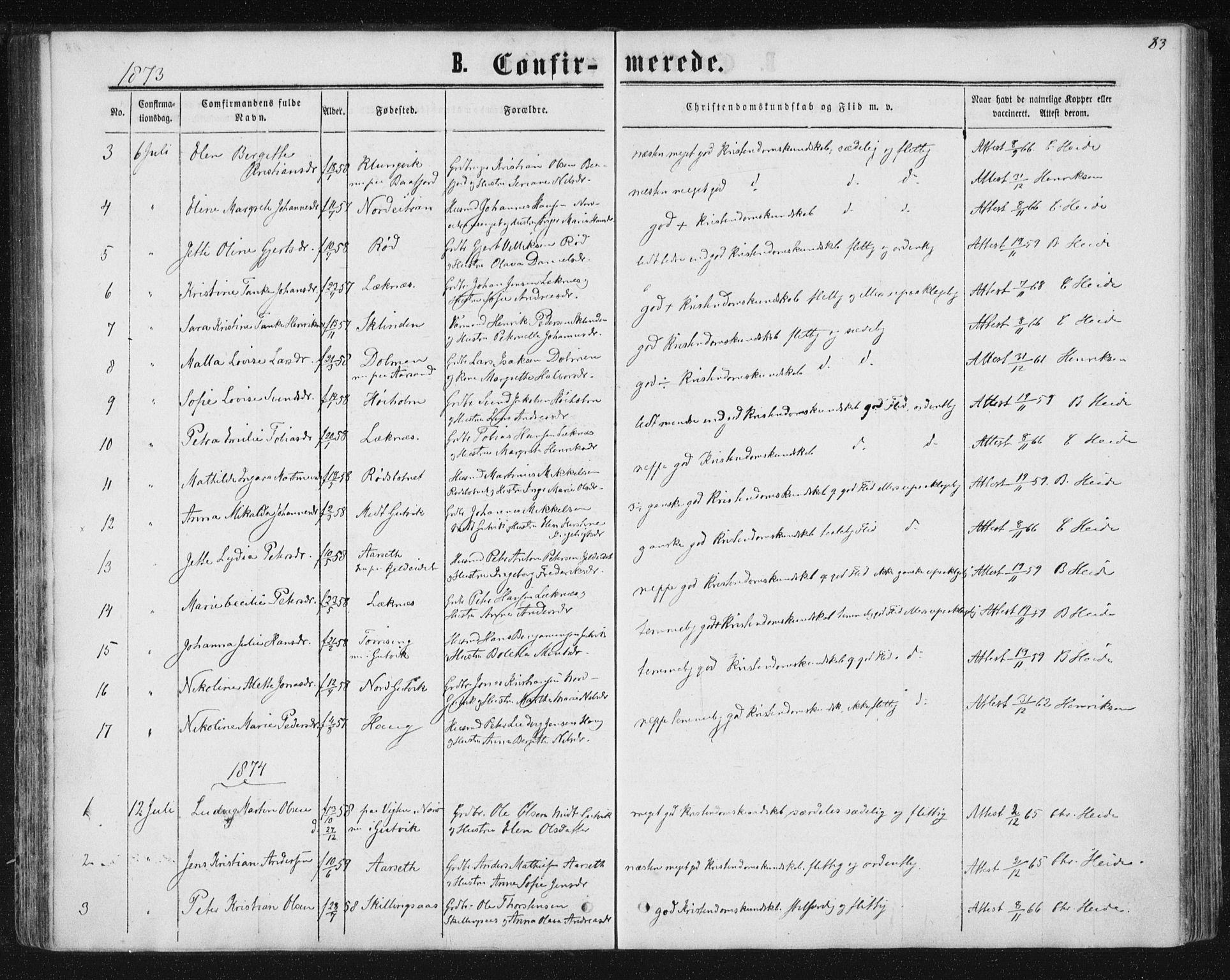 SAT, Ministerialprotokoller, klokkerbøker og fødselsregistre - Nord-Trøndelag, 788/L0696: Ministerialbok nr. 788A03, 1863-1877, s. 83
