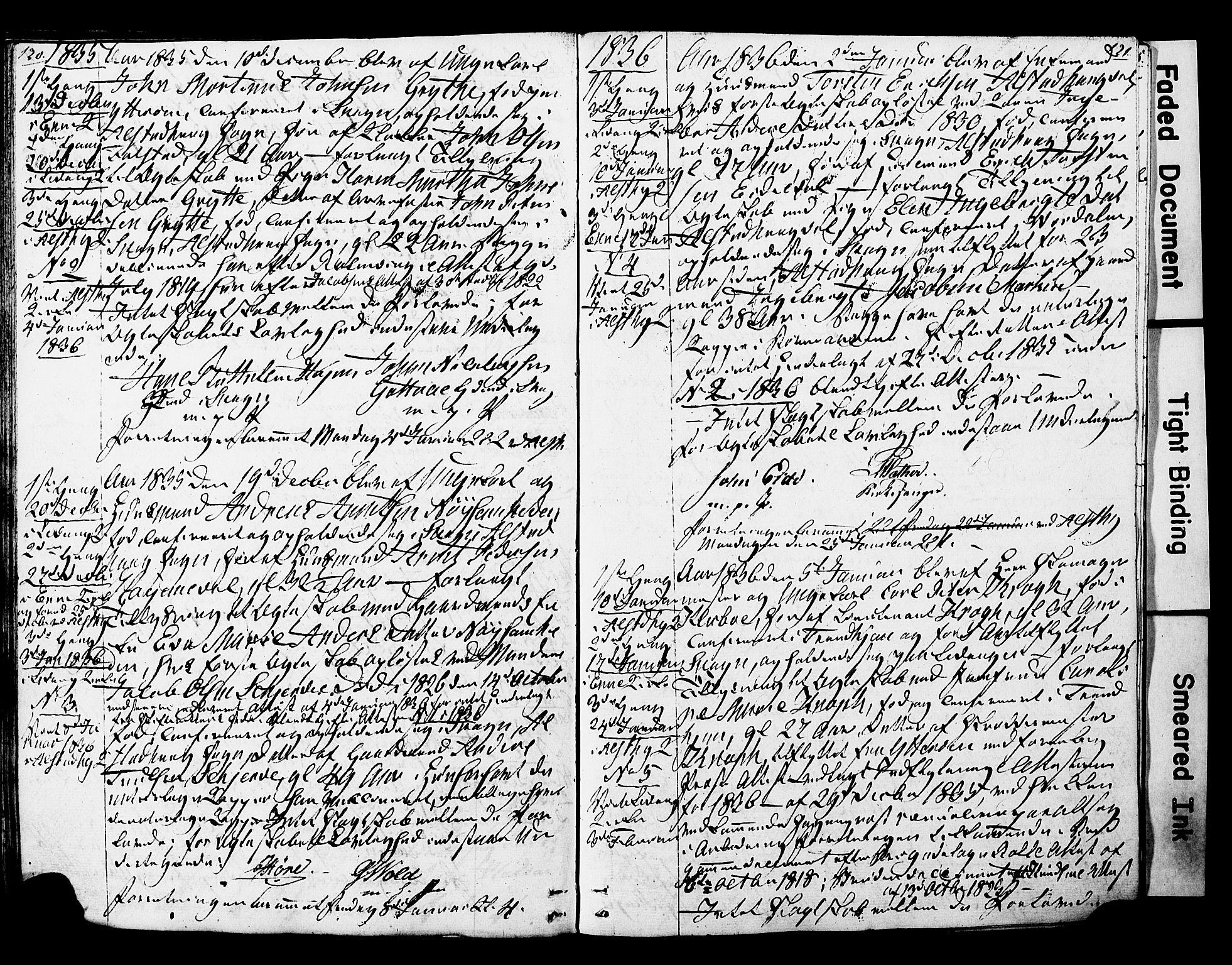 SAT, Ministerialprotokoller, klokkerbøker og fødselsregistre - Nord-Trøndelag, 717/L0160: Forlovererklæringer nr. 717A10, 1828-1850, s. 120-121