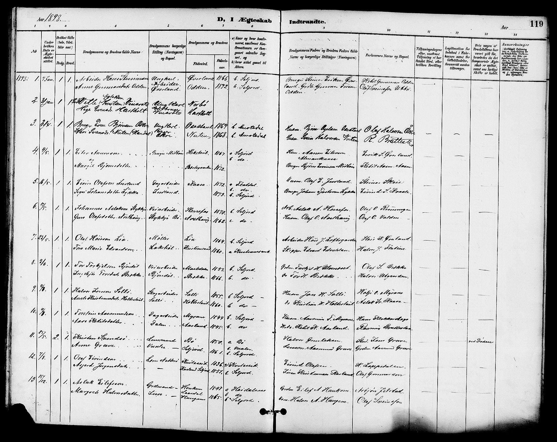 SAKO, Seljord kirkebøker, G/Ga/L0005: Klokkerbok nr. I 5, 1887-1914, s. 119
