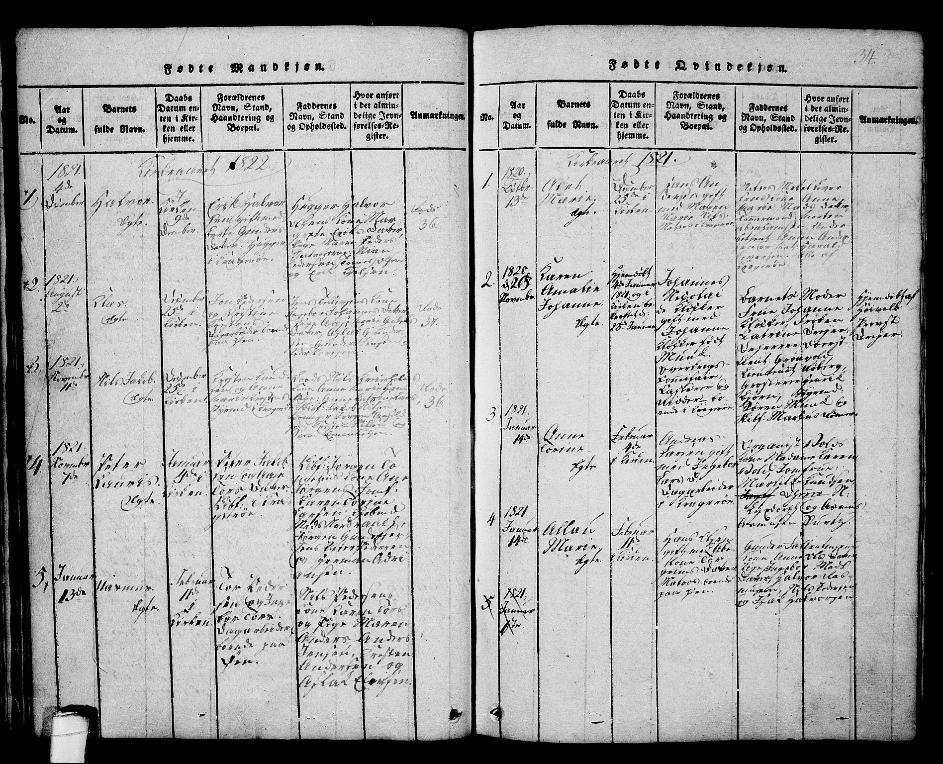 SAKO, Kragerø kirkebøker, G/Ga/L0002: Klokkerbok nr. 2, 1814-1831, s. 34