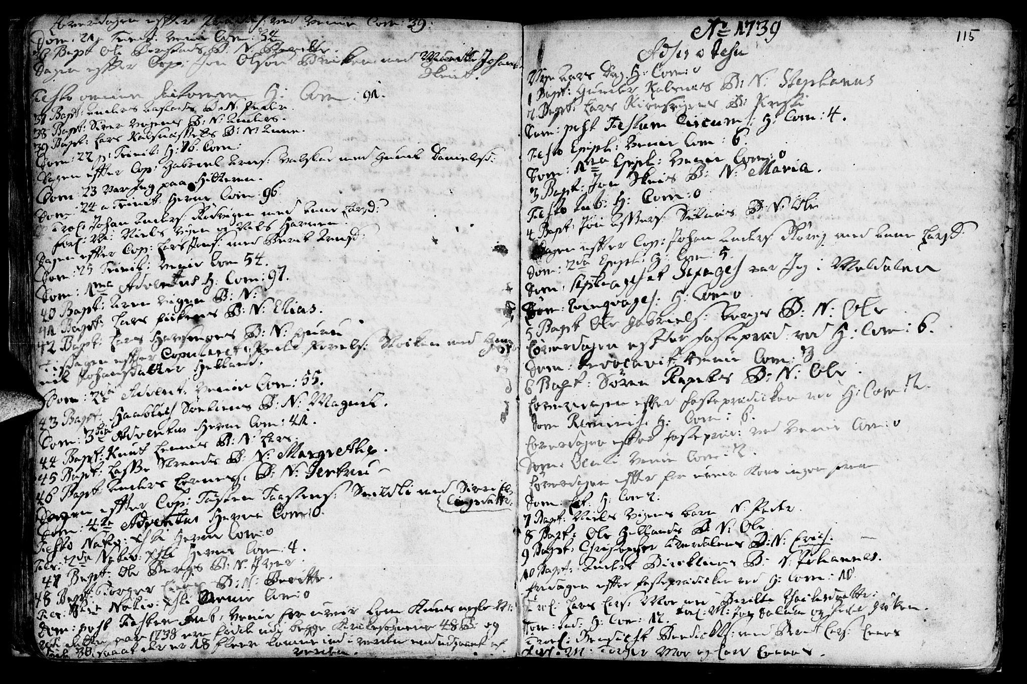 SAT, Ministerialprotokoller, klokkerbøker og fødselsregistre - Sør-Trøndelag, 630/L0488: Ministerialbok nr. 630A01, 1717-1756, s. 114-115
