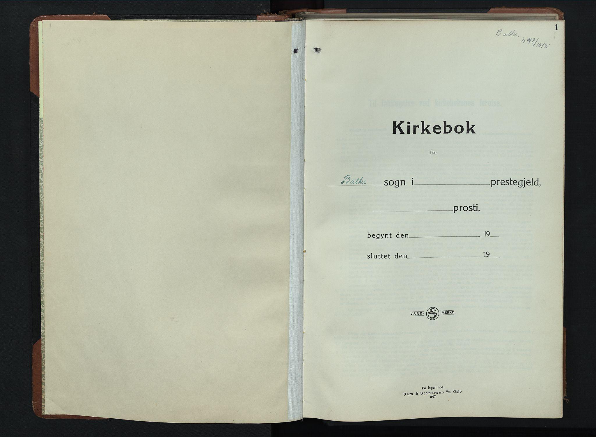 SAH, Balke prestekontor, Klokkerbok nr. 2, 1929-1951, s. 1