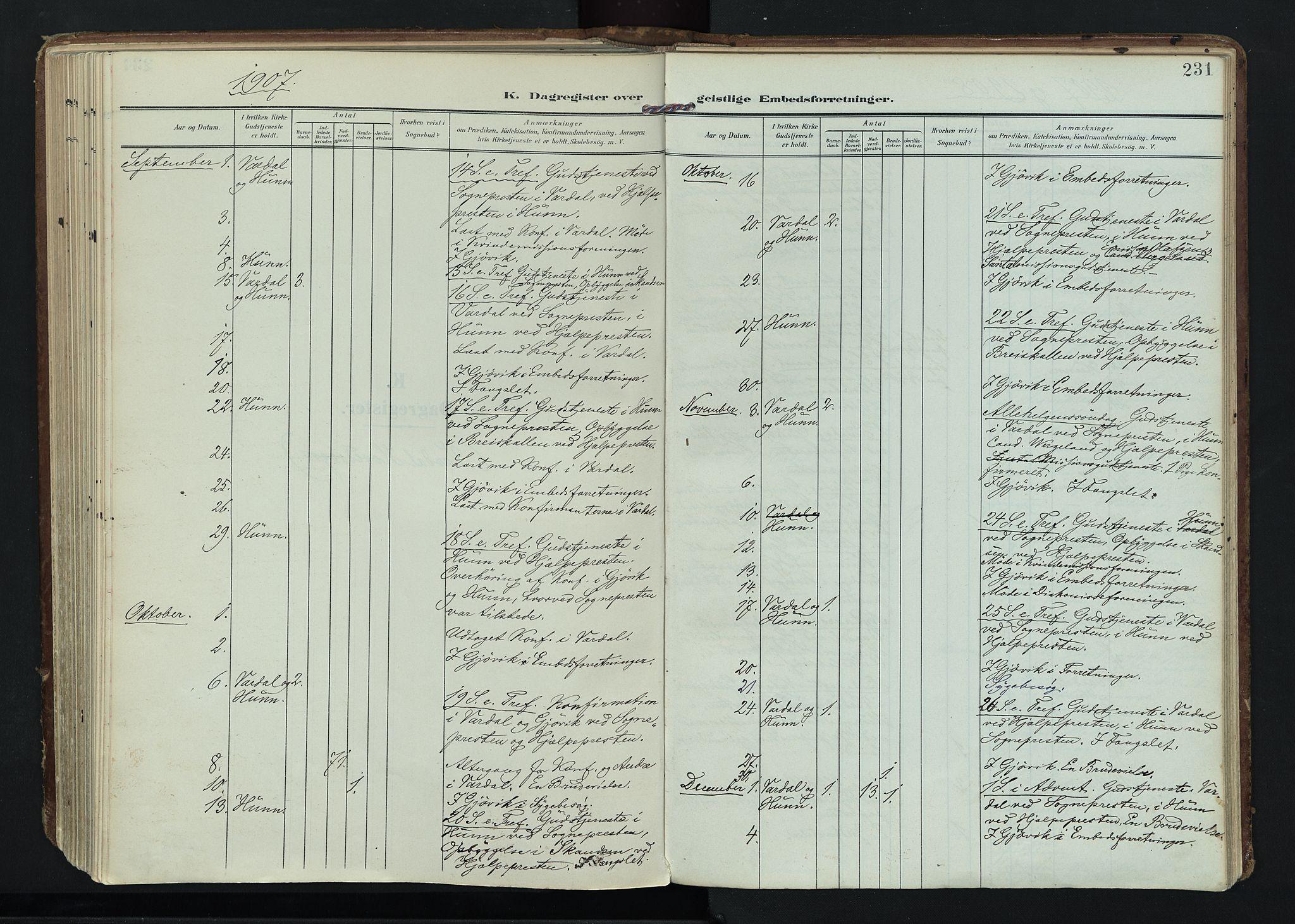 SAH, Vardal prestekontor, H/Ha/Haa/L0020: Ministerialbok nr. 20, 1907-1921, s. 231
