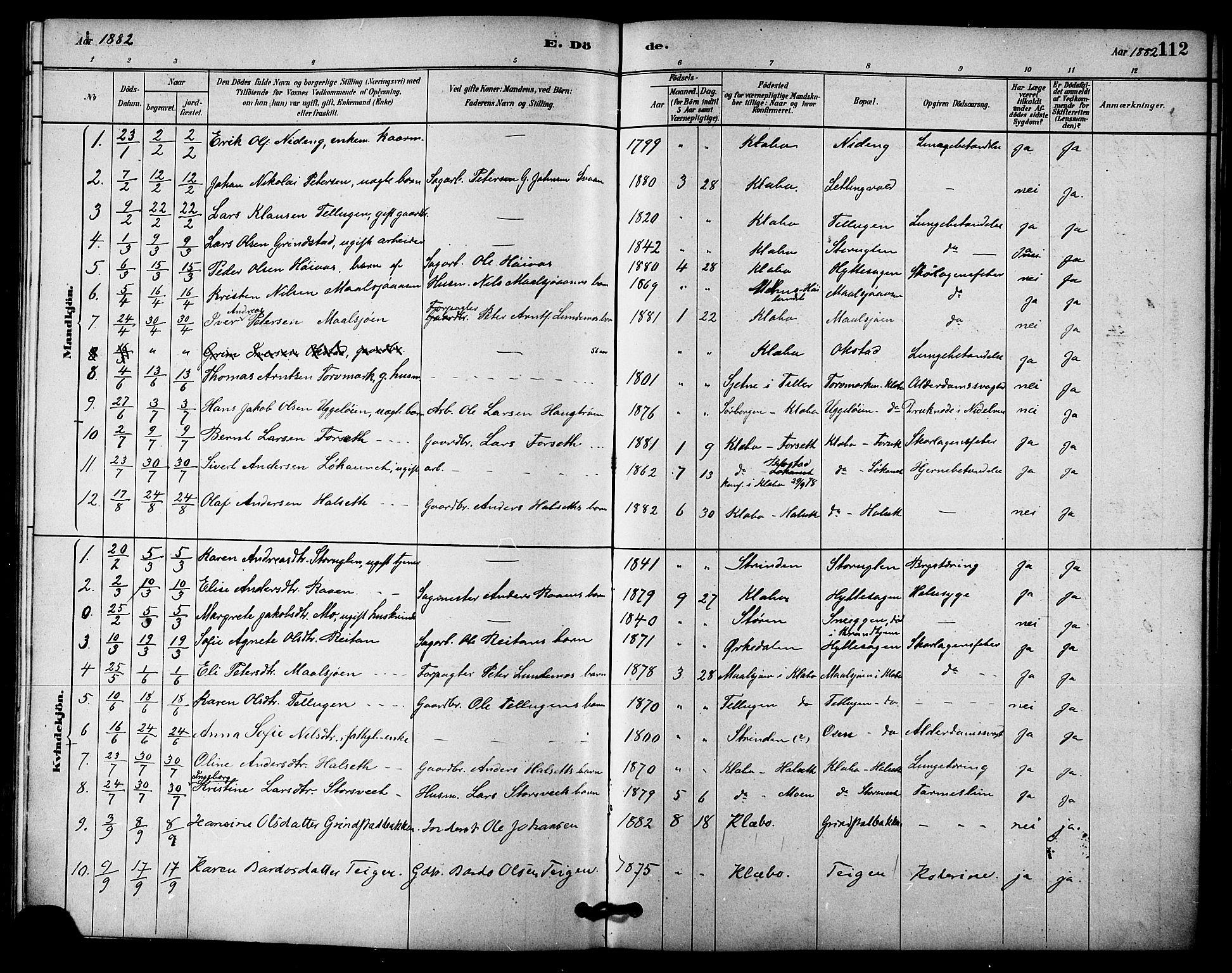 SAT, Ministerialprotokoller, klokkerbøker og fødselsregistre - Sør-Trøndelag, 618/L0444: Ministerialbok nr. 618A07, 1880-1898, s. 112