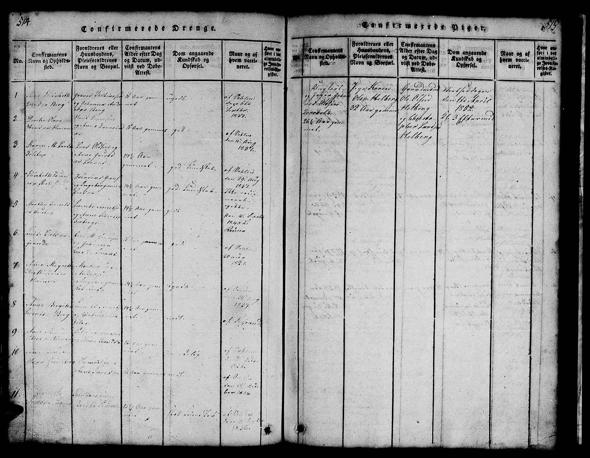 SAT, Ministerialprotokoller, klokkerbøker og fødselsregistre - Nord-Trøndelag, 731/L0310: Klokkerbok nr. 731C01, 1816-1874, s. 514-515