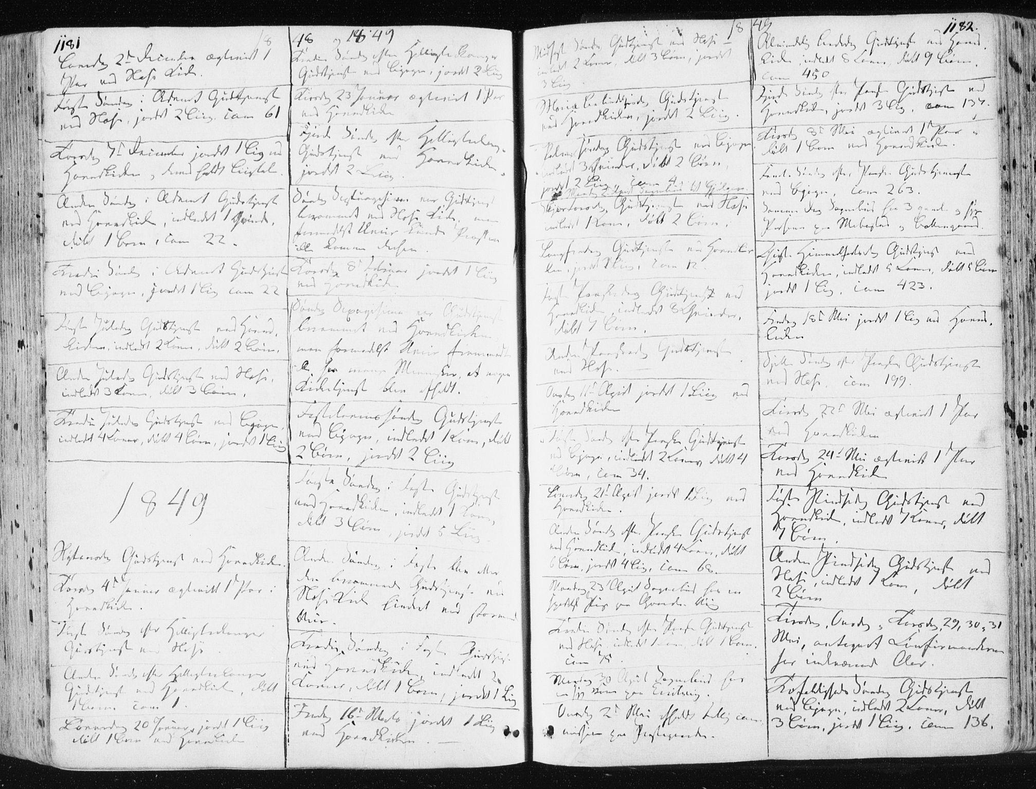 SAT, Ministerialprotokoller, klokkerbøker og fødselsregistre - Sør-Trøndelag, 659/L0736: Ministerialbok nr. 659A06, 1842-1856, s. 1181-1182