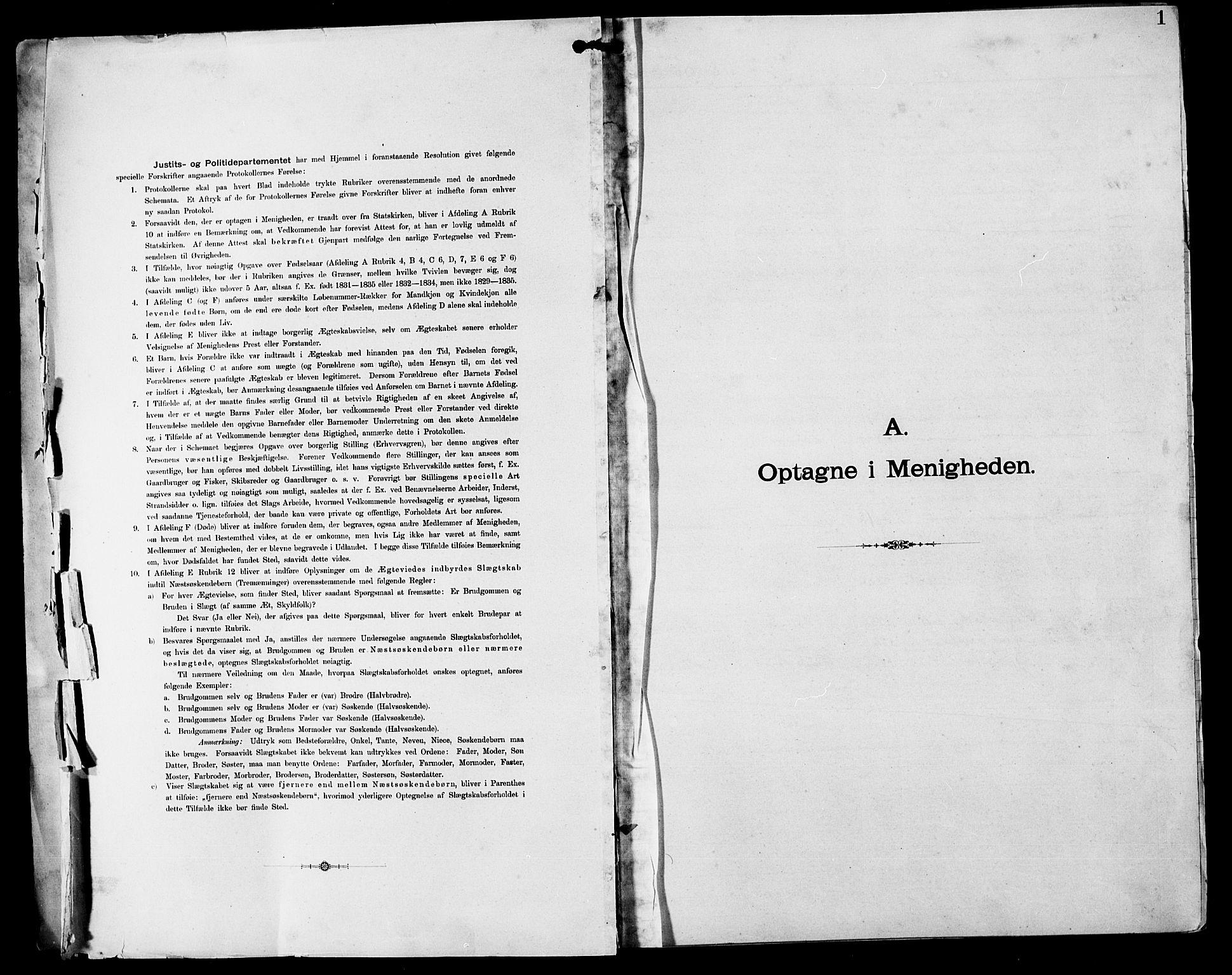 SAST, Stavanger amt*, Dissenterprotokoll nr. -, 1892-1902, s. 1