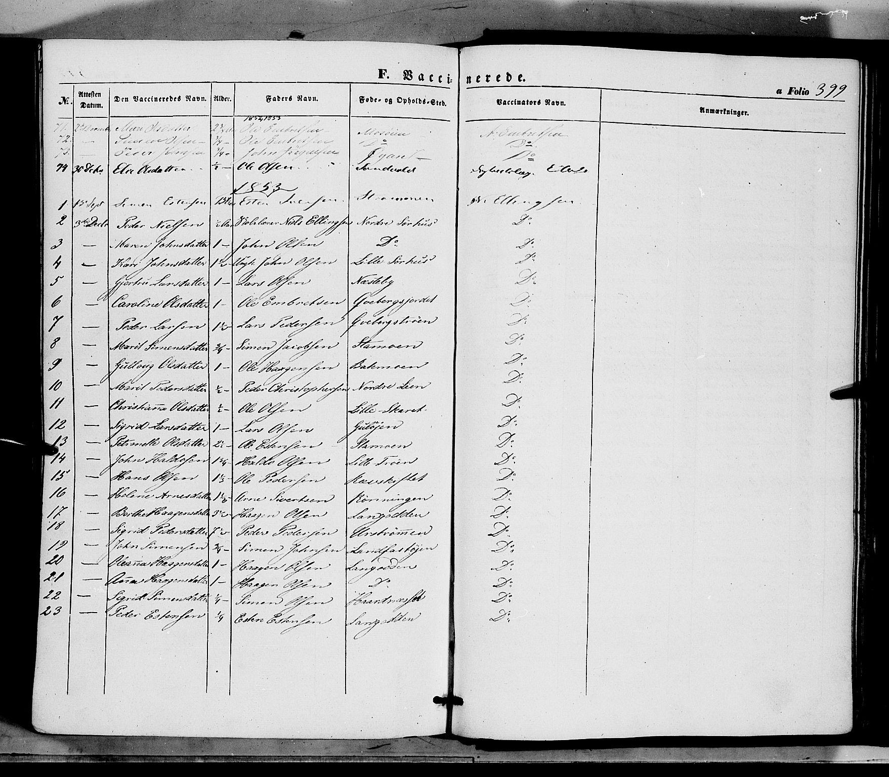 SAH, Tynset prestekontor, Ministerialbok nr. 20, 1848-1862, s. 399