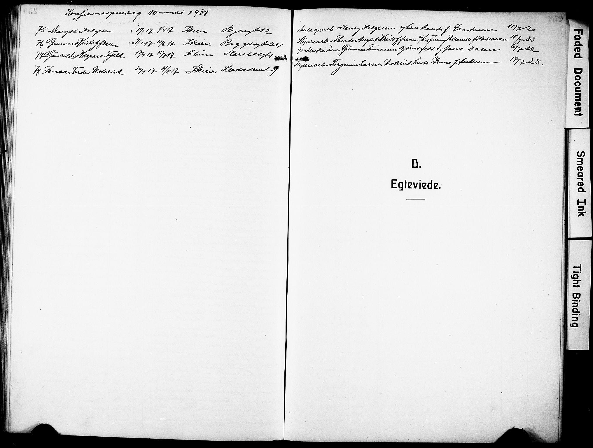SAKO, Skien kirkebøker, G/Ga/L0010: Klokkerbok nr. 10, 1920-1931