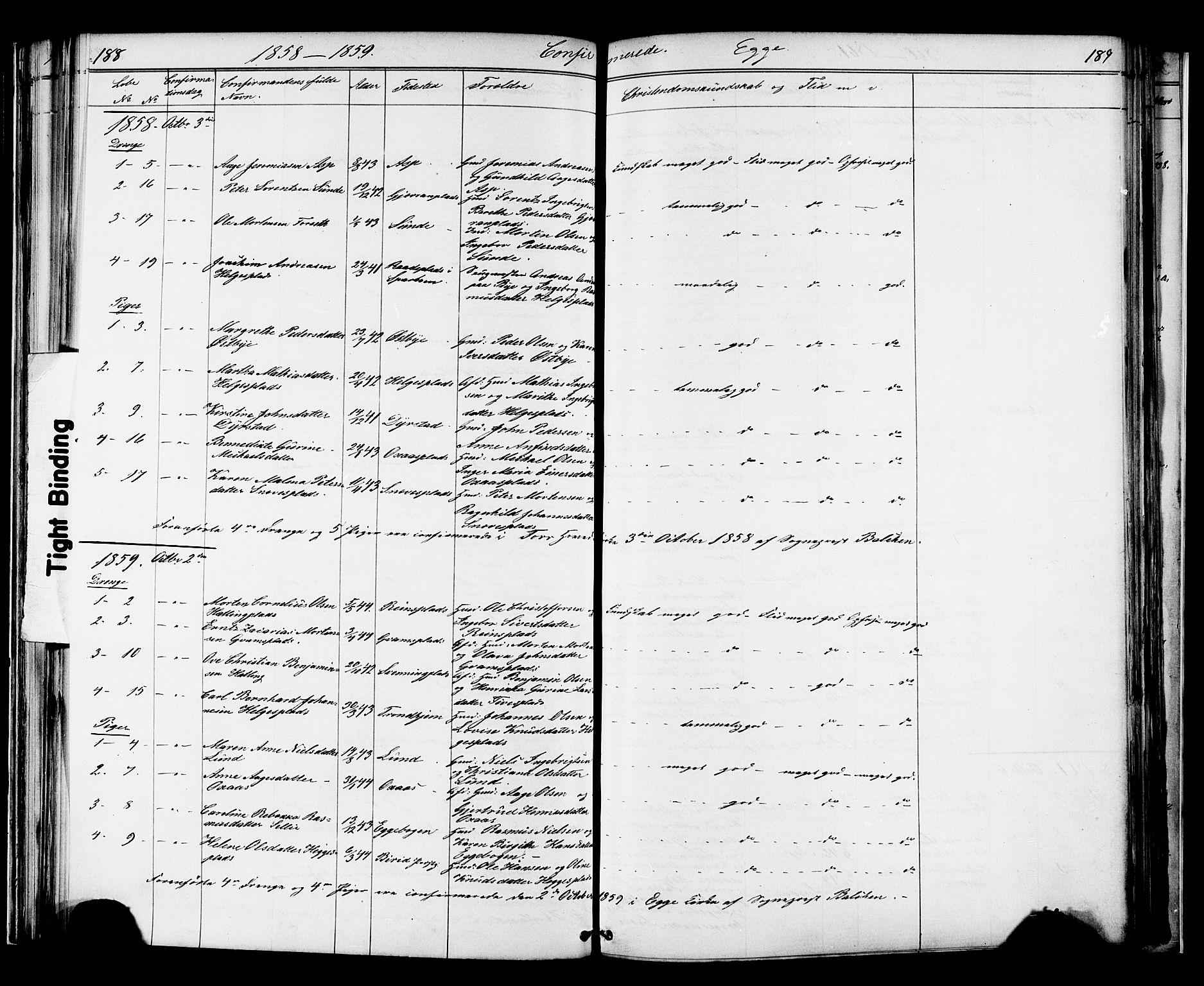 SAT, Ministerialprotokoller, klokkerbøker og fødselsregistre - Nord-Trøndelag, 739/L0367: Ministerialbok nr. 739A01 /3, 1838-1868, s. 188-189