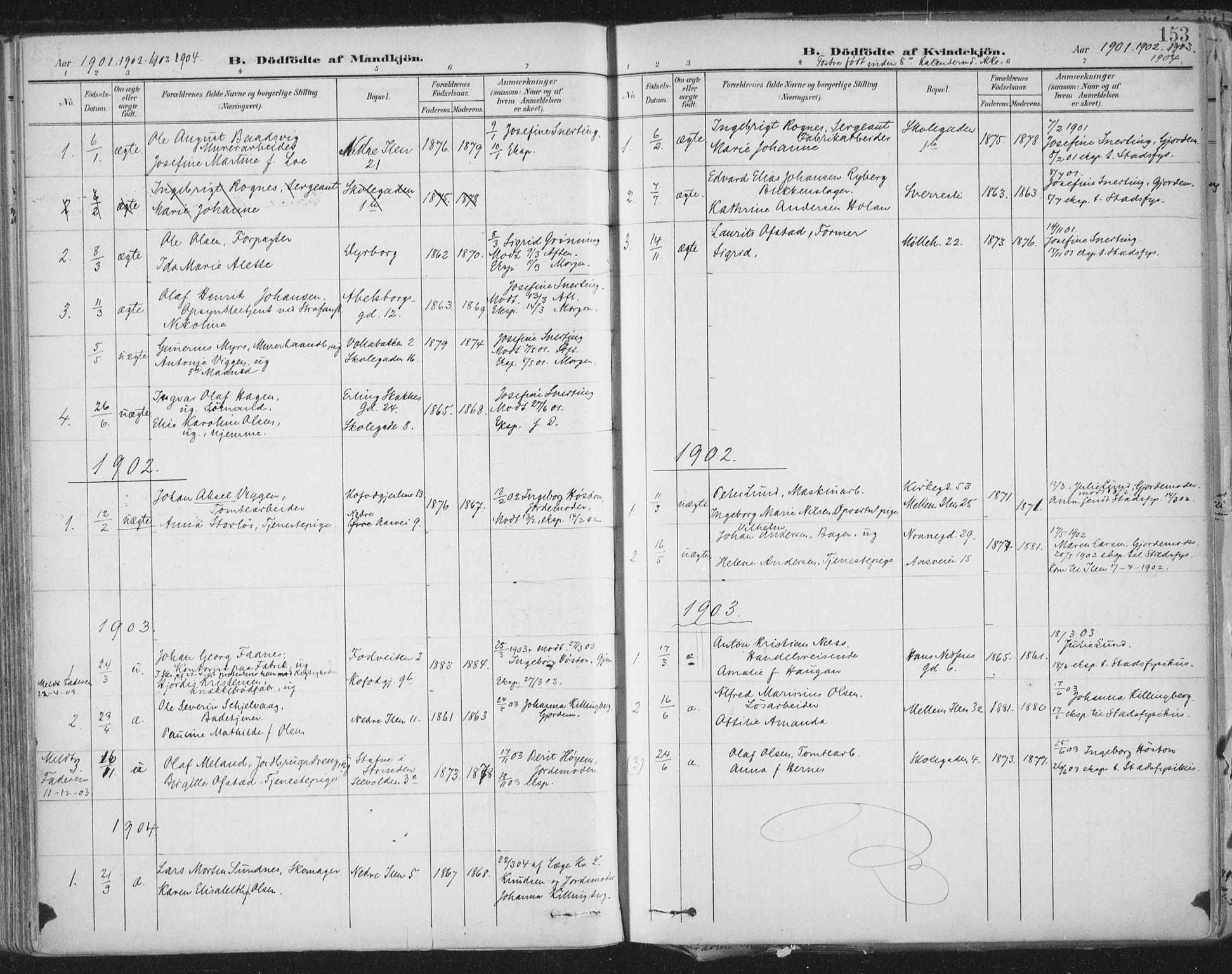 SAT, Ministerialprotokoller, klokkerbøker og fødselsregistre - Sør-Trøndelag, 603/L0167: Ministerialbok nr. 603A06, 1896-1932, s. 153