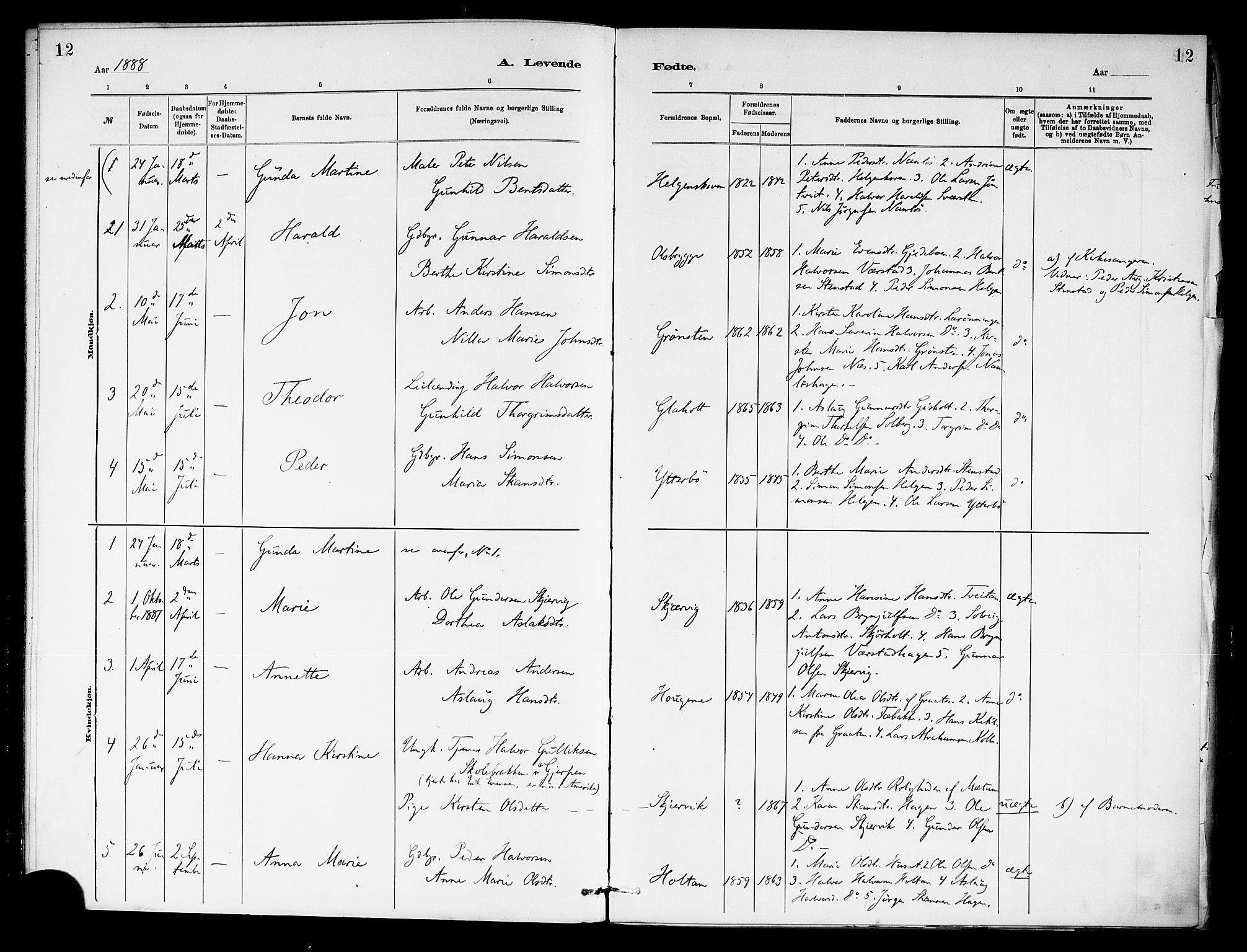 SAKO, Holla kirkebøker, F/Fa/L0009: Ministerialbok nr. 9, 1881-1897, s. 12