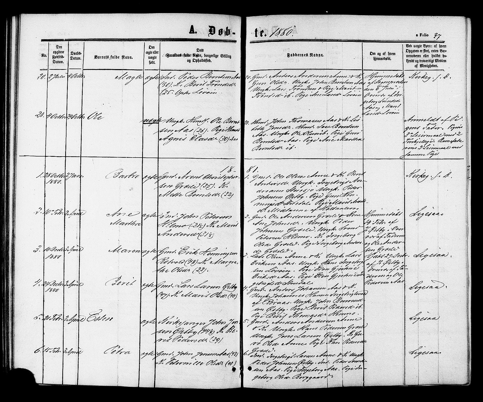 SAT, Ministerialprotokoller, klokkerbøker og fødselsregistre - Sør-Trøndelag, 698/L1163: Ministerialbok nr. 698A01, 1862-1887, s. 37