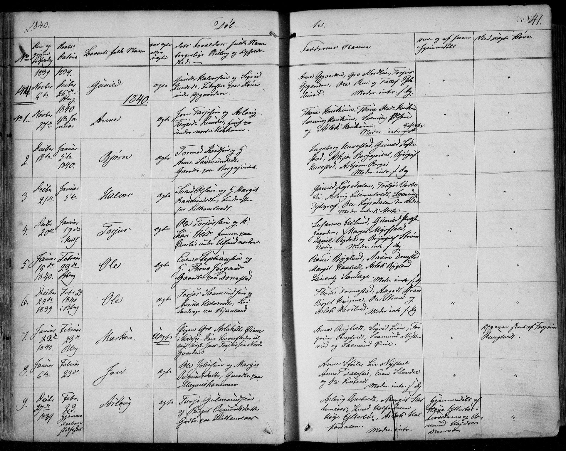 SAKO, Kviteseid kirkebøker, F/Fa/L0006: Ministerialbok nr. I 6, 1836-1858, s. 41