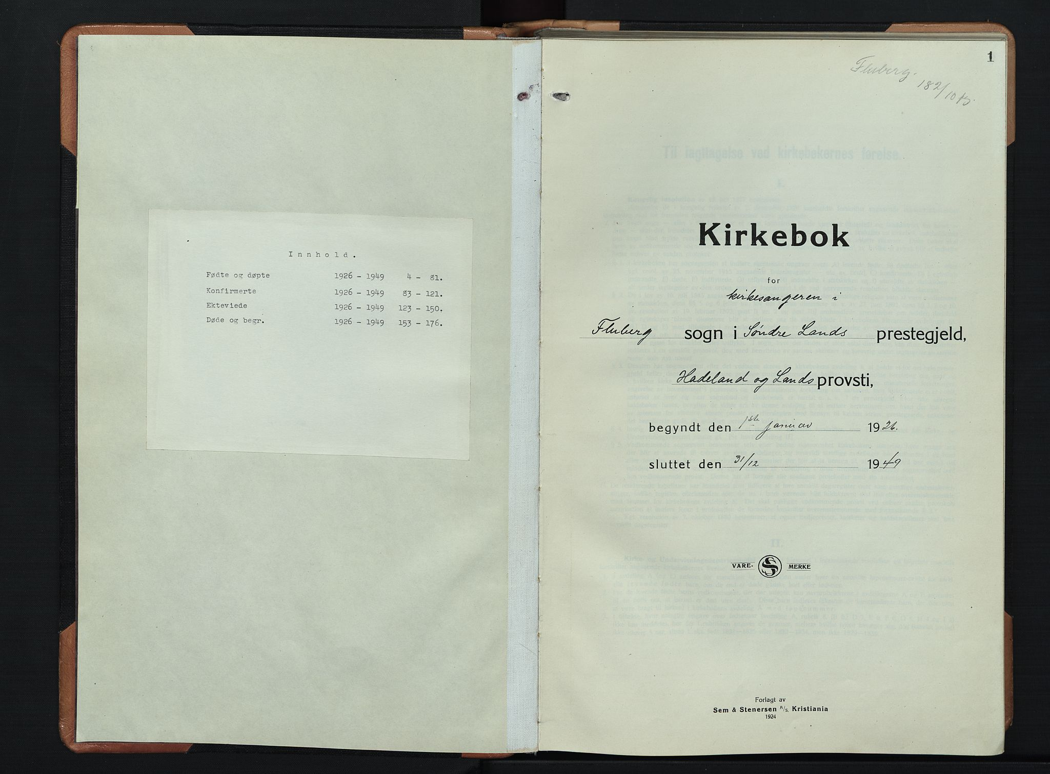 SAH, Søndre Land prestekontor, L/L0008: Klokkerbok nr. 8, 1926-1950, s. 1