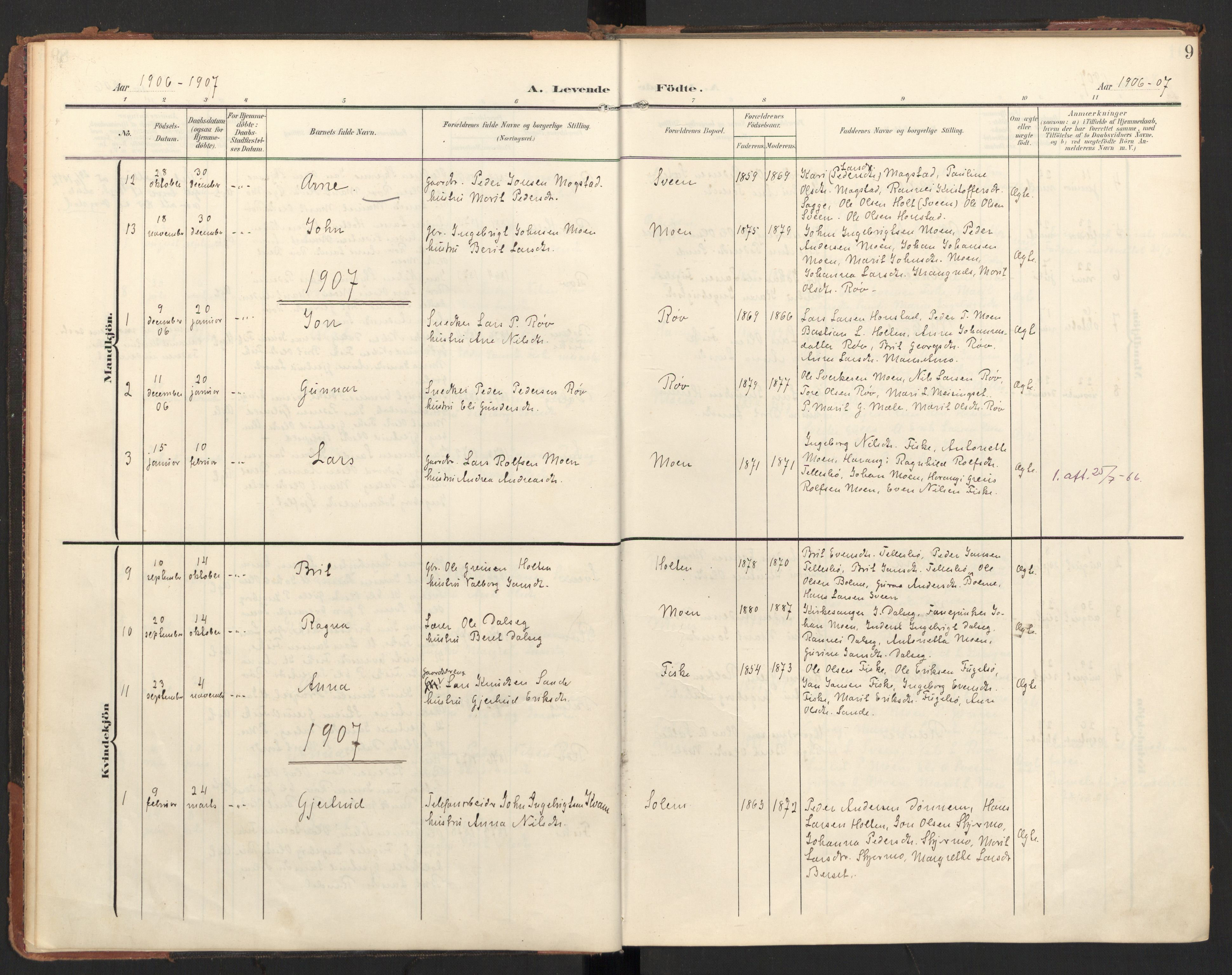 SAT, Ministerialprotokoller, klokkerbøker og fødselsregistre - Møre og Romsdal, 597/L1063: Ministerialbok nr. 597A02, 1905-1923, s. 9