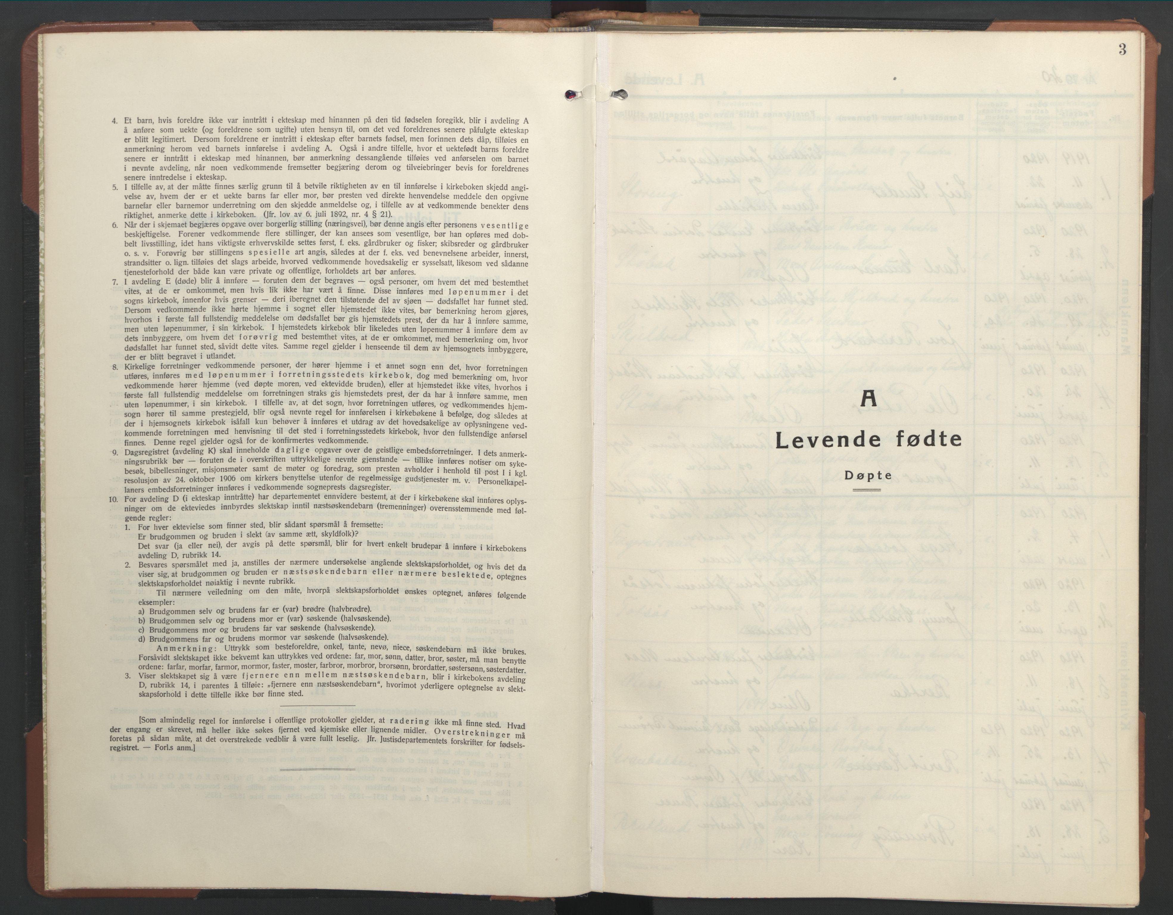 SAT, Ministerialprotokoller, klokkerbøker og fødselsregistre - Nord-Trøndelag, 755/L0500: Klokkerbok nr. 755C01, 1920-1962, s. 3
