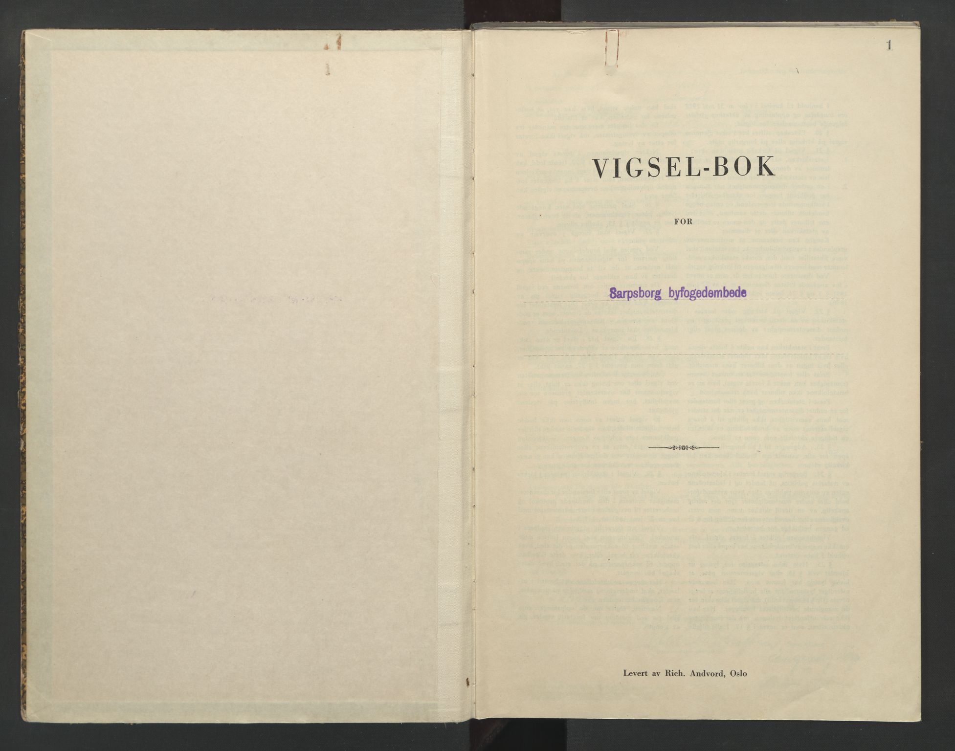 SAO, Sarpsborg byfogd, L/Lb/Lba/L0003: Vigselbok, 1943-1945, s. 1