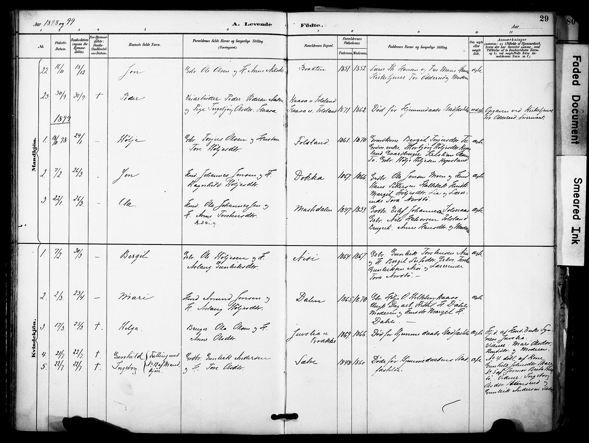 SAKO, Gransherad kirkebøker, F/Fa/L0005: Ministerialbok nr. I 5, 1887-1916, s. 29