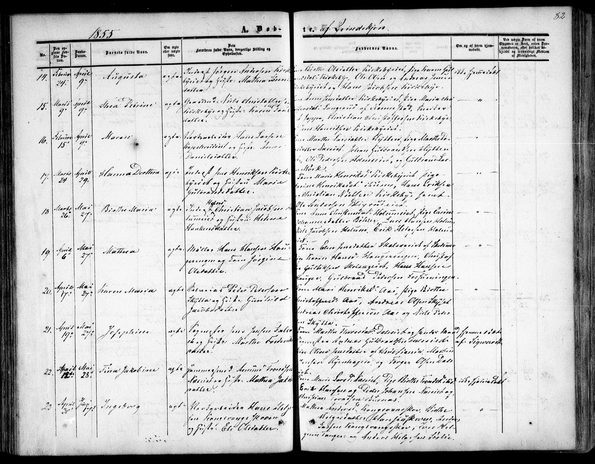 SAO, Nittedal prestekontor Kirkebøker, F/Fa/L0005: Ministerialbok nr. I 5, 1850-1862, s. 82