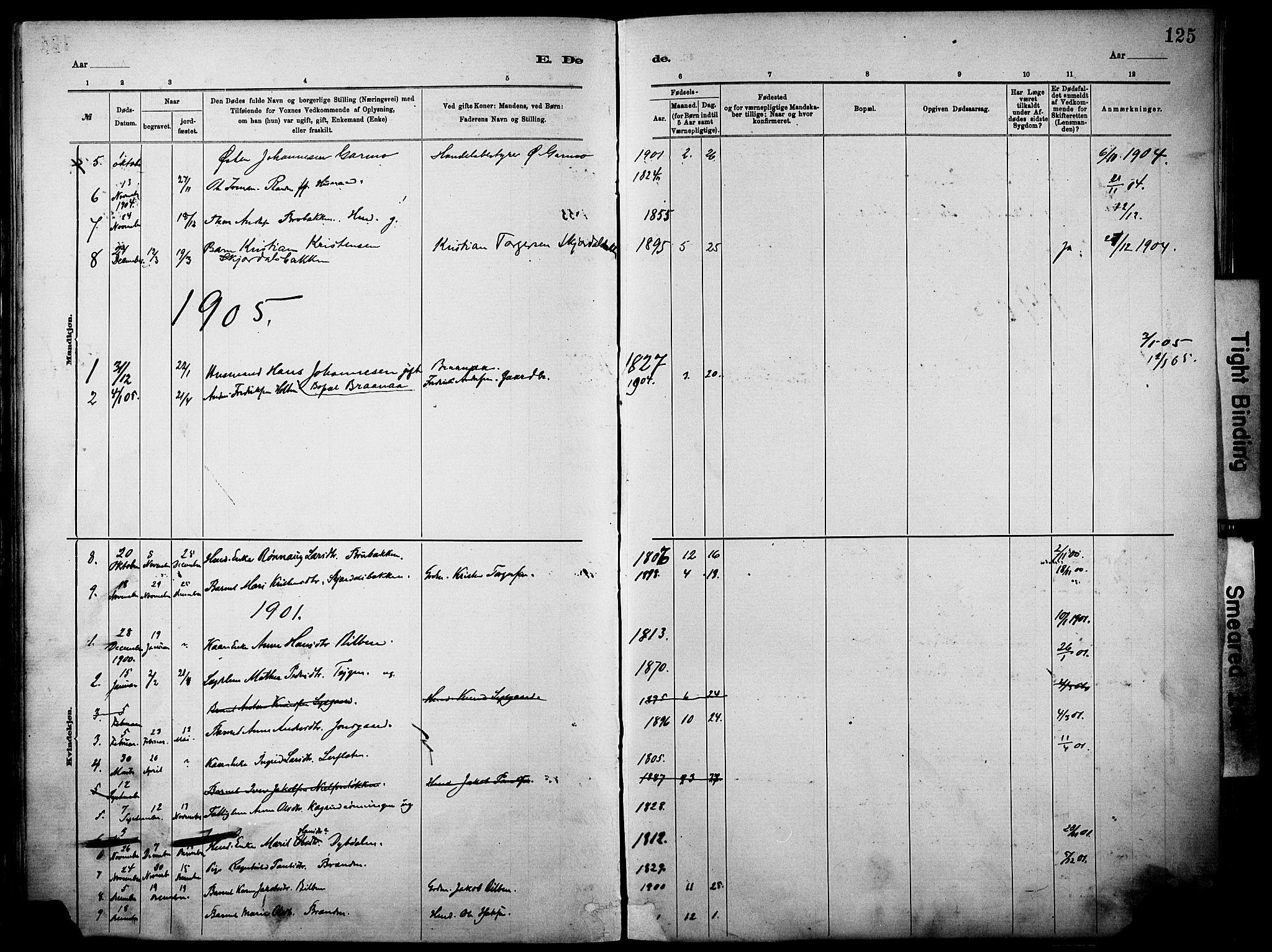 SAH, Vågå prestekontor, Ministerialbok nr. 10, 1887-1904, s. 125a