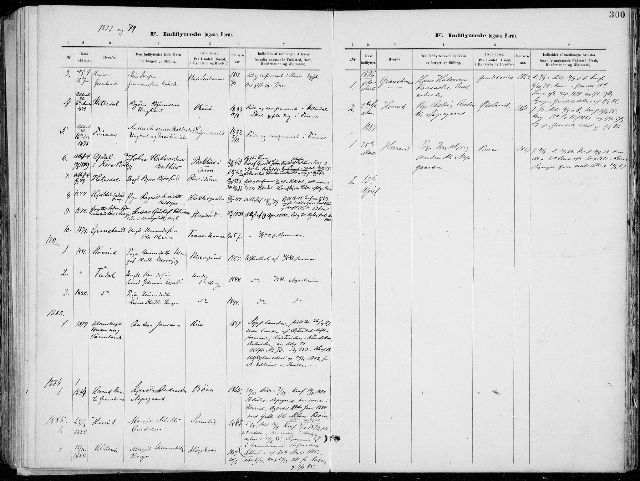 SAKO, Tinn kirkebøker, F/Fa/L0007: Ministerialbok nr. I 7, 1878-1922, s. 300
