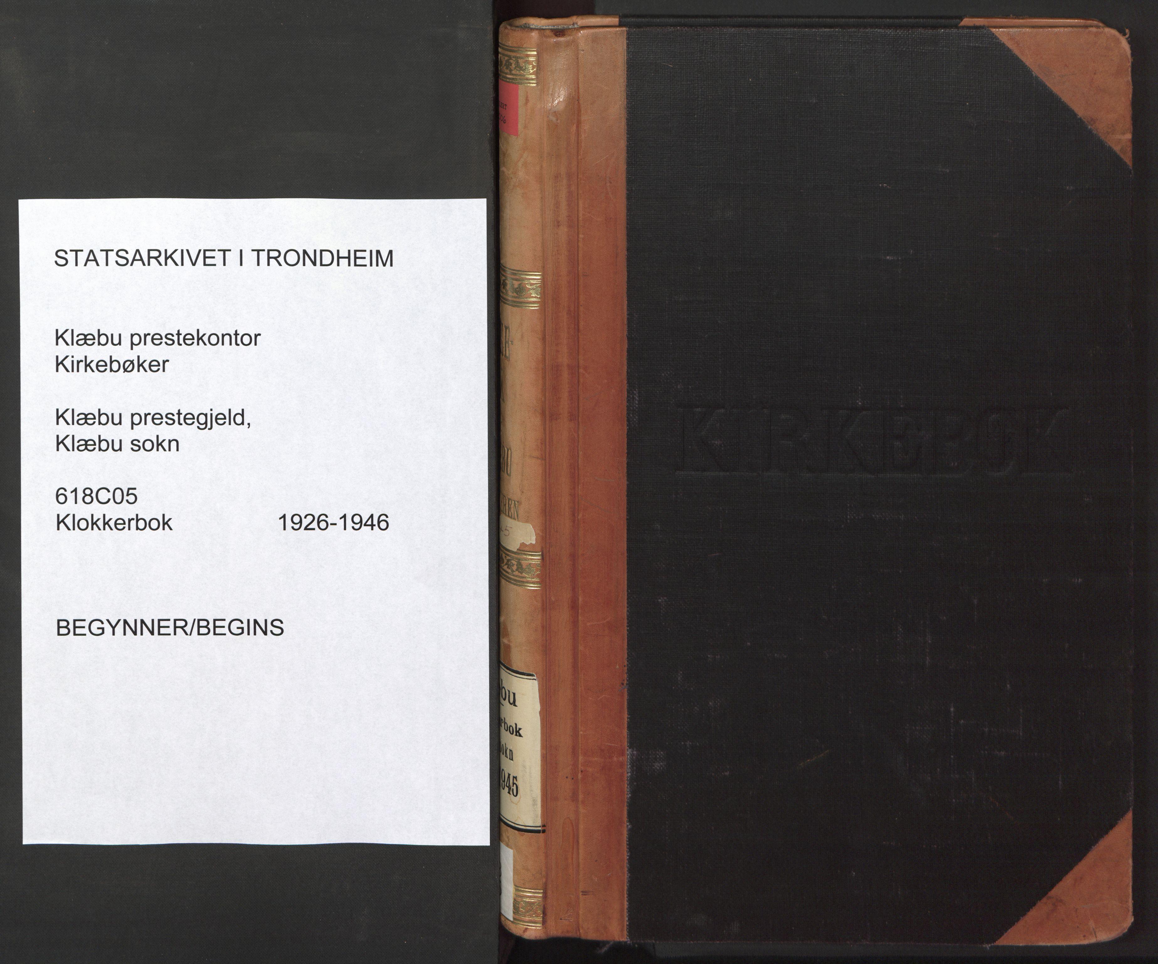 SAT, Ministerialprotokoller, klokkerbøker og fødselsregistre - Sør-Trøndelag, 618/L0454: Klokkerbok nr. 618C05, 1926-1946