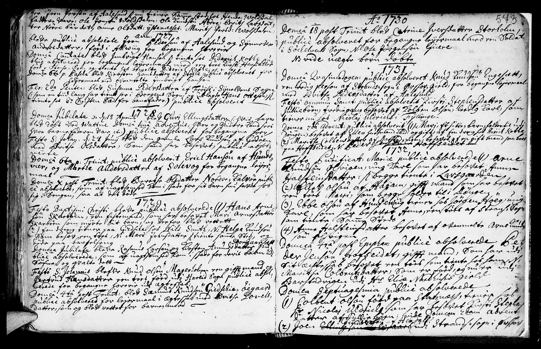 SAT, Ministerialprotokoller, klokkerbøker og fødselsregistre - Møre og Romsdal, 528/L0390: Ministerialbok nr. 528A01, 1698-1739, s. 572-573