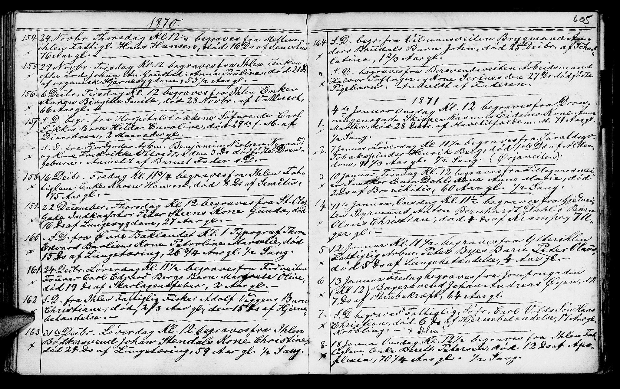 SAT, Ministerialprotokoller, klokkerbøker og fødselsregistre - Sør-Trøndelag, 602/L0140: Klokkerbok nr. 602C08, 1864-1872, s. 604-605