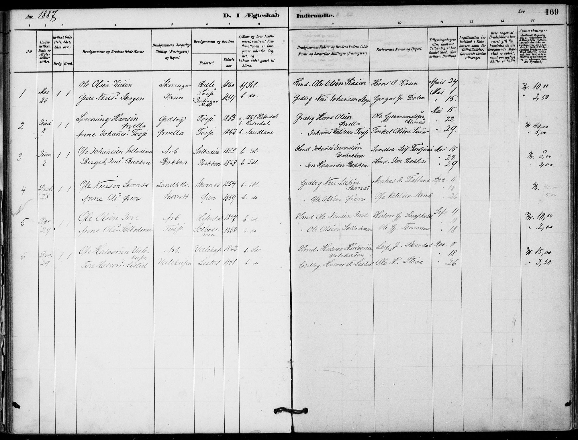 SAKO, Hjartdal kirkebøker, F/Fb/L0002: Ministerialbok nr. II 2, 1880-1932, s. 169