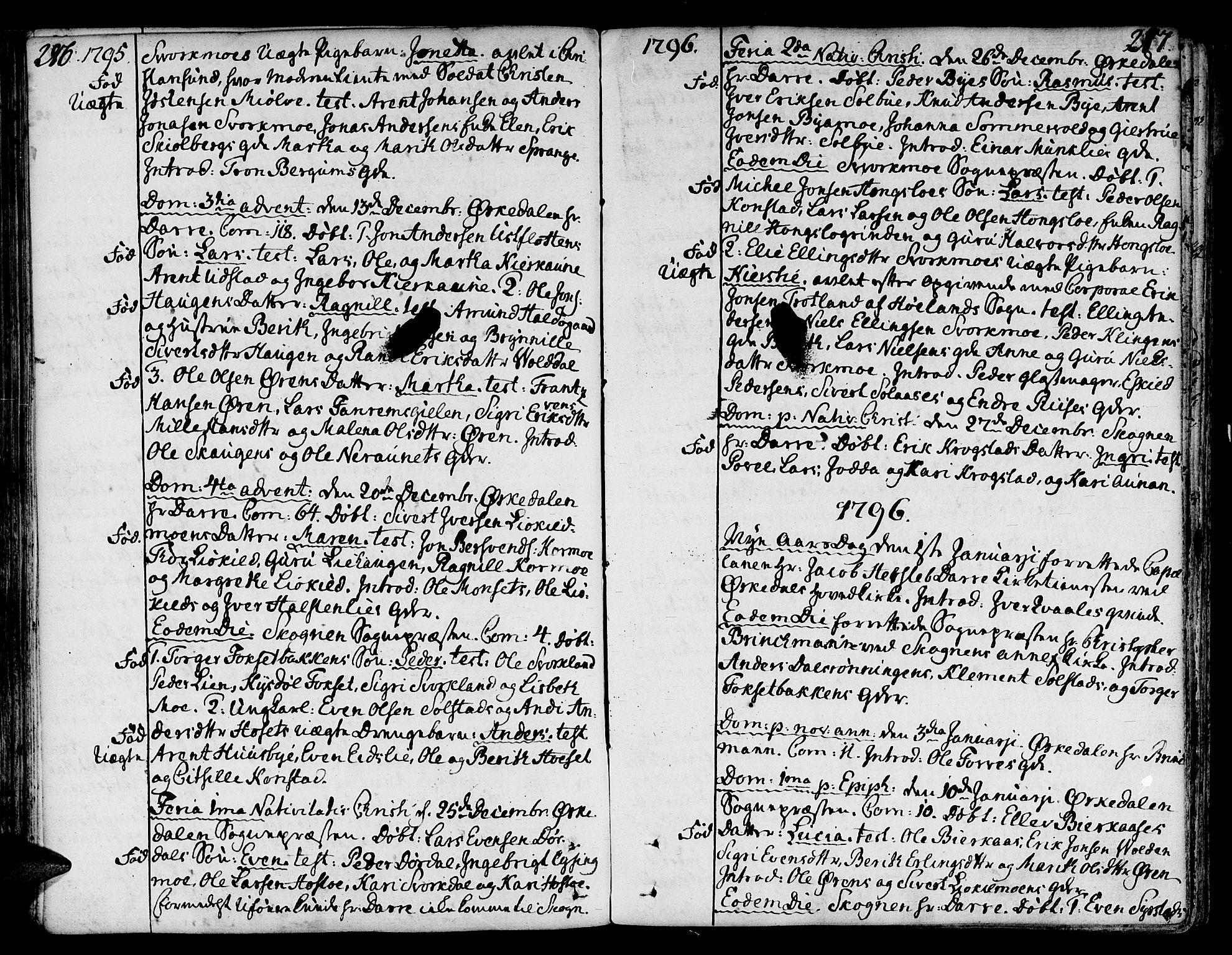 SAT, Ministerialprotokoller, klokkerbøker og fødselsregistre - Sør-Trøndelag, 668/L0802: Ministerialbok nr. 668A02, 1776-1799, s. 286-287