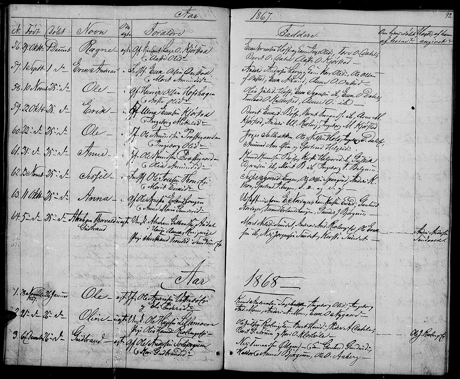 SAH, Nord-Aurdal prestekontor, Klokkerbok nr. 2, 1842-1877, s. 92