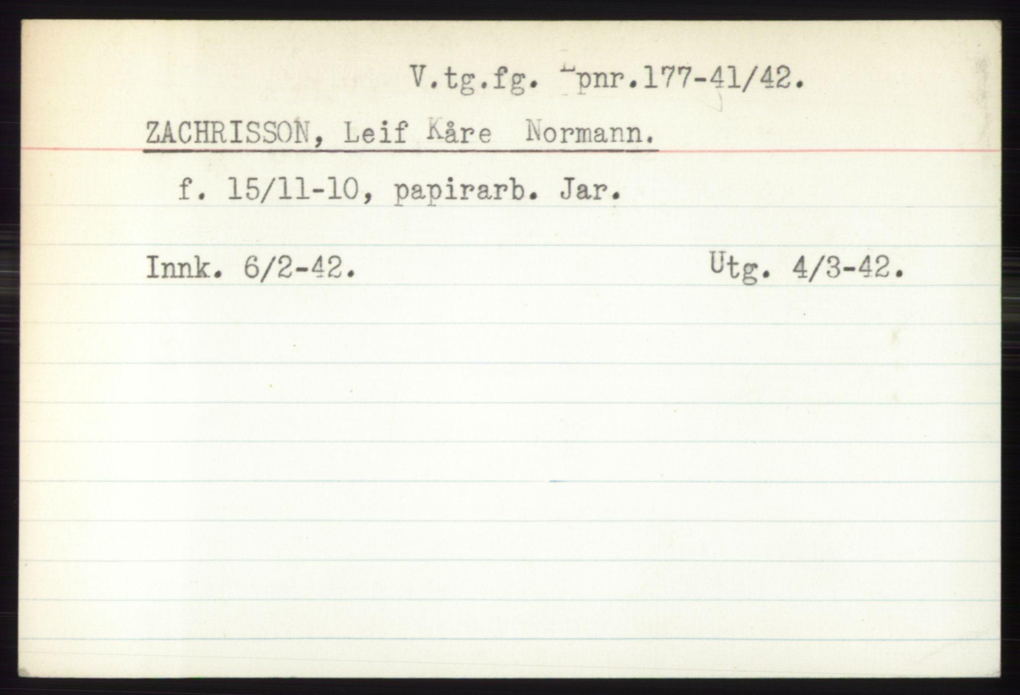 RA, Statspolitiet - Hovedkontoret / Osloavdelingen, C/Ck/Cke/L0005: Fangeregister S-Å, 1941-1945, s. 686