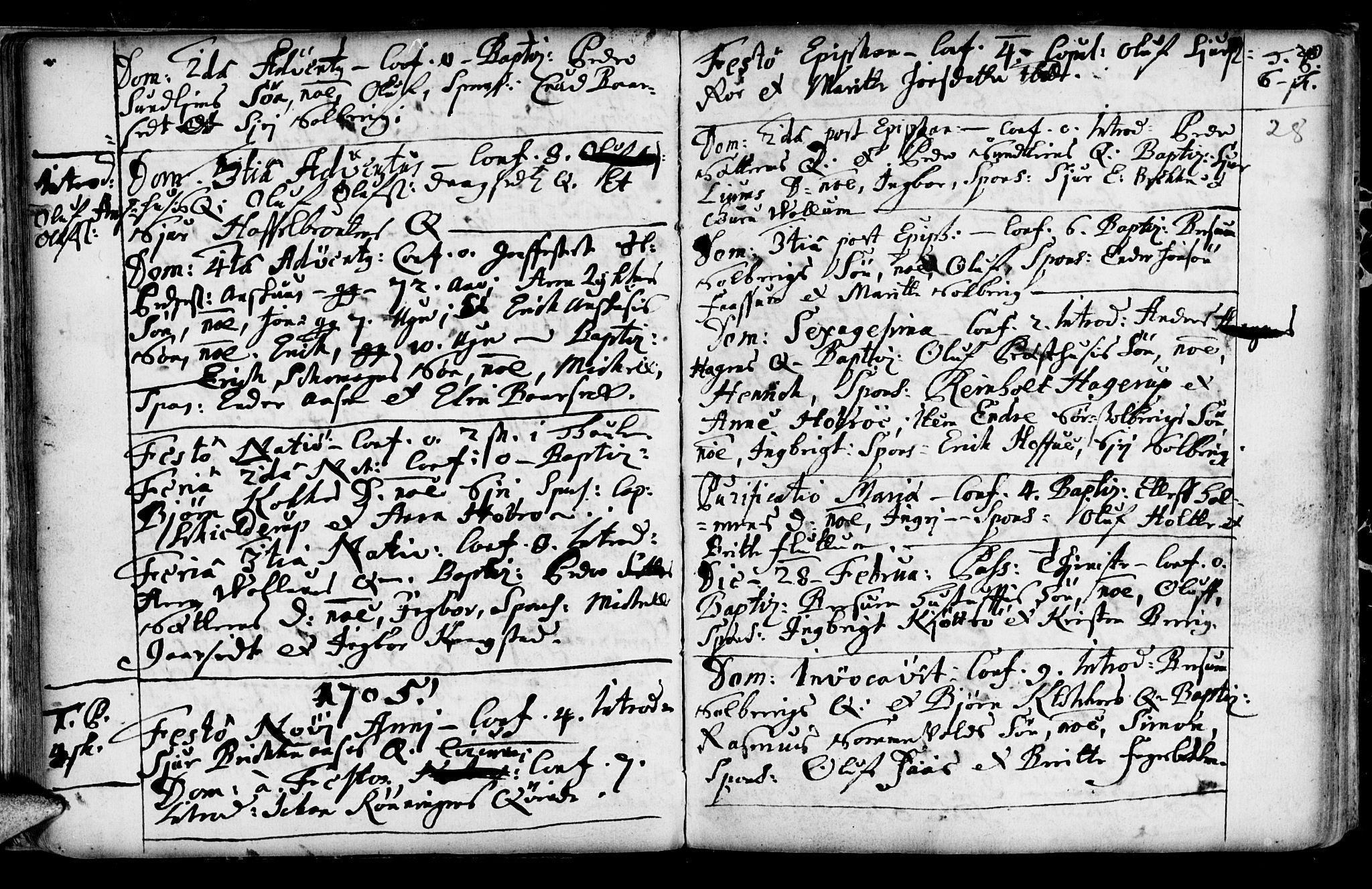 SAT, Ministerialprotokoller, klokkerbøker og fødselsregistre - Sør-Trøndelag, 689/L1036: Ministerialbok nr. 689A01, 1696-1746, s. 28