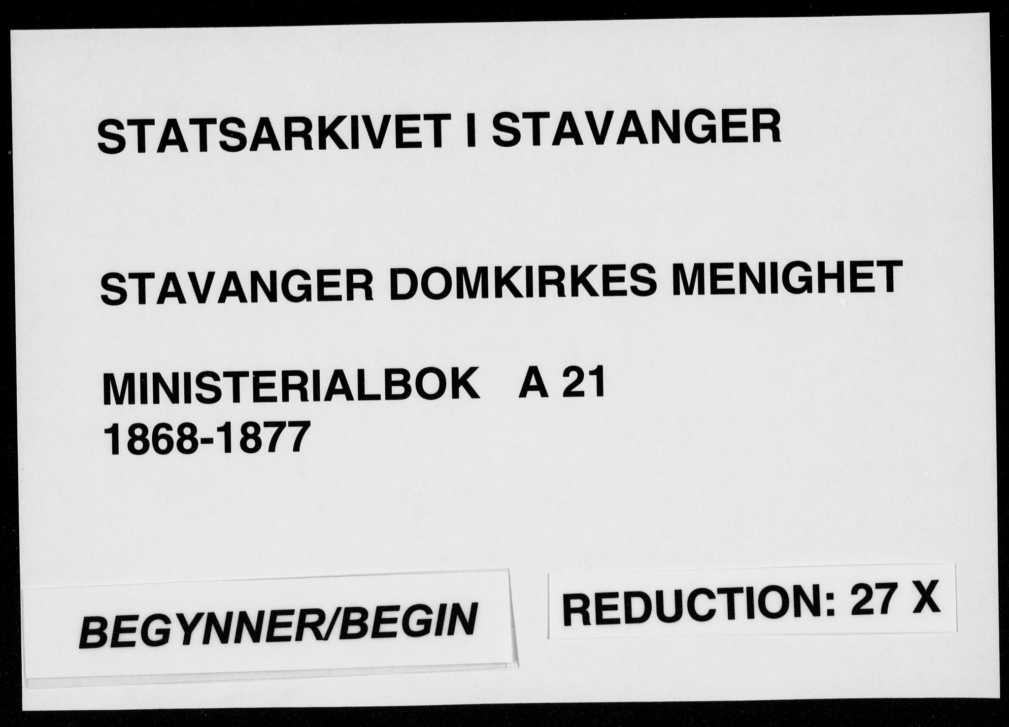 SAST, Domkirken sokneprestkontor, 30/30BA/L0022: Ministerialbok nr. A 21, 1868-1877