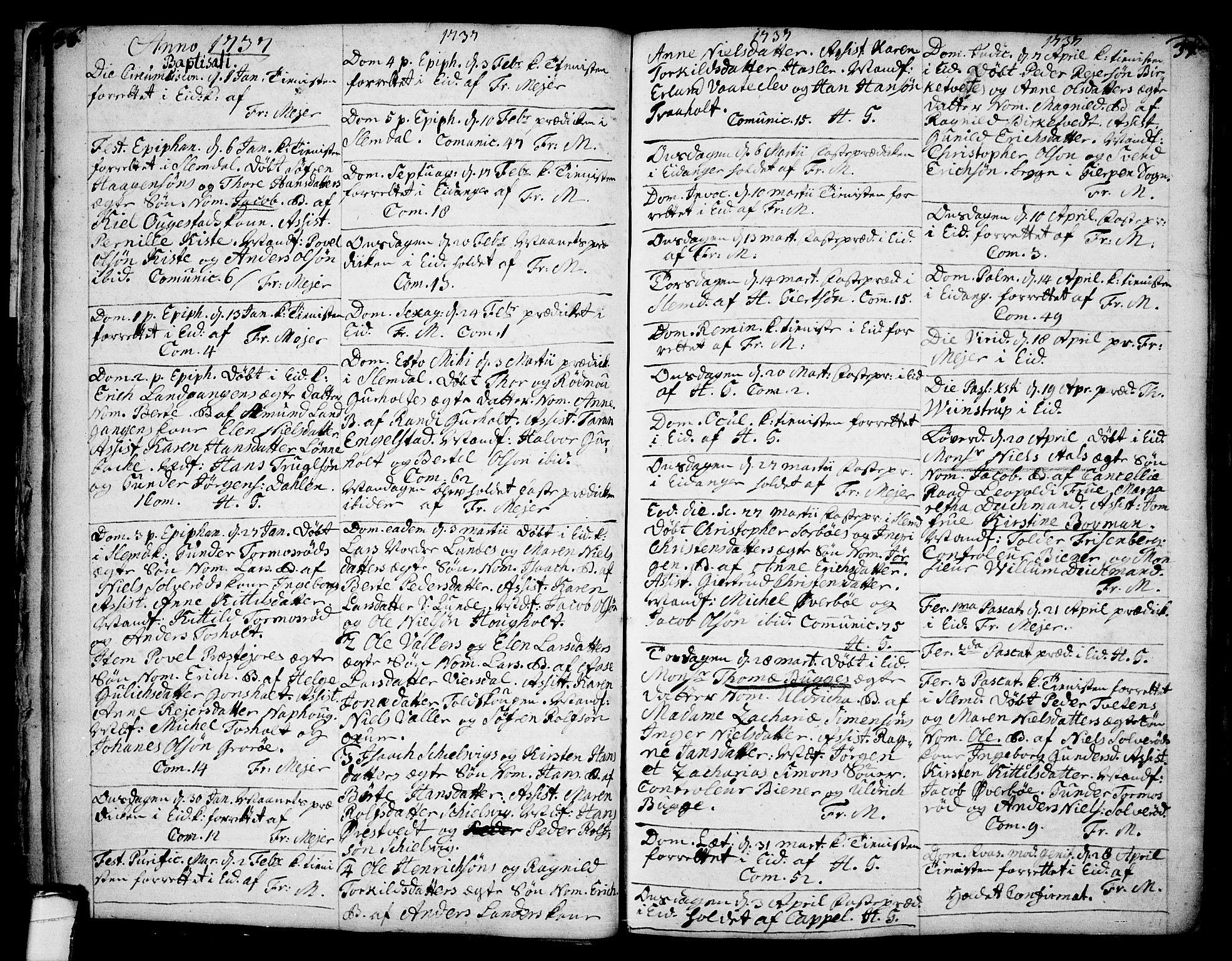 SAKO, Eidanger kirkebøker, F/Fa/L0004: Ministerialbok nr. 4, 1733-1759, s. 36-37
