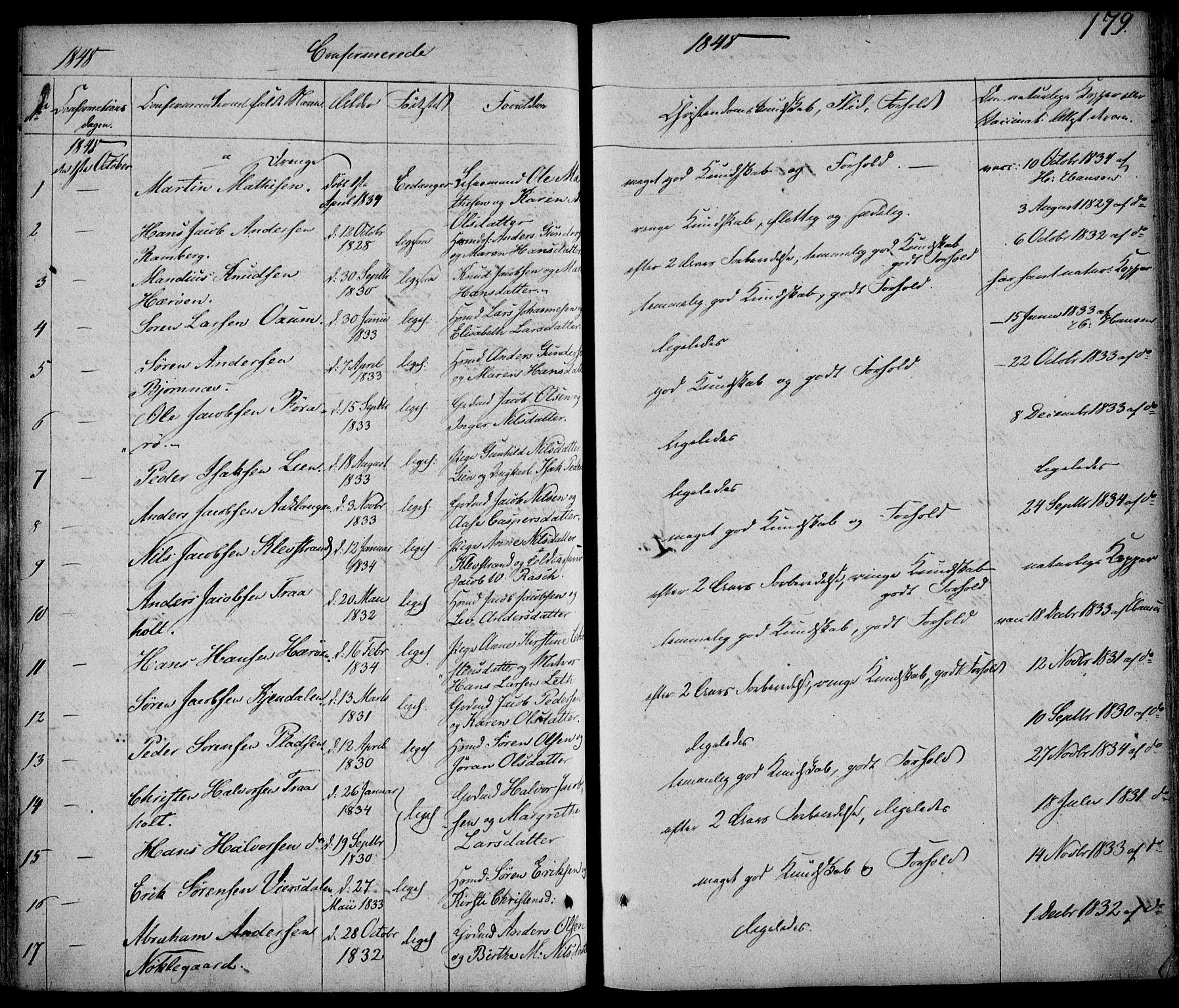 SAKO, Eidanger kirkebøker, F/Fa/L0008: Ministerialbok nr. 8, 1831-1858, s. 179