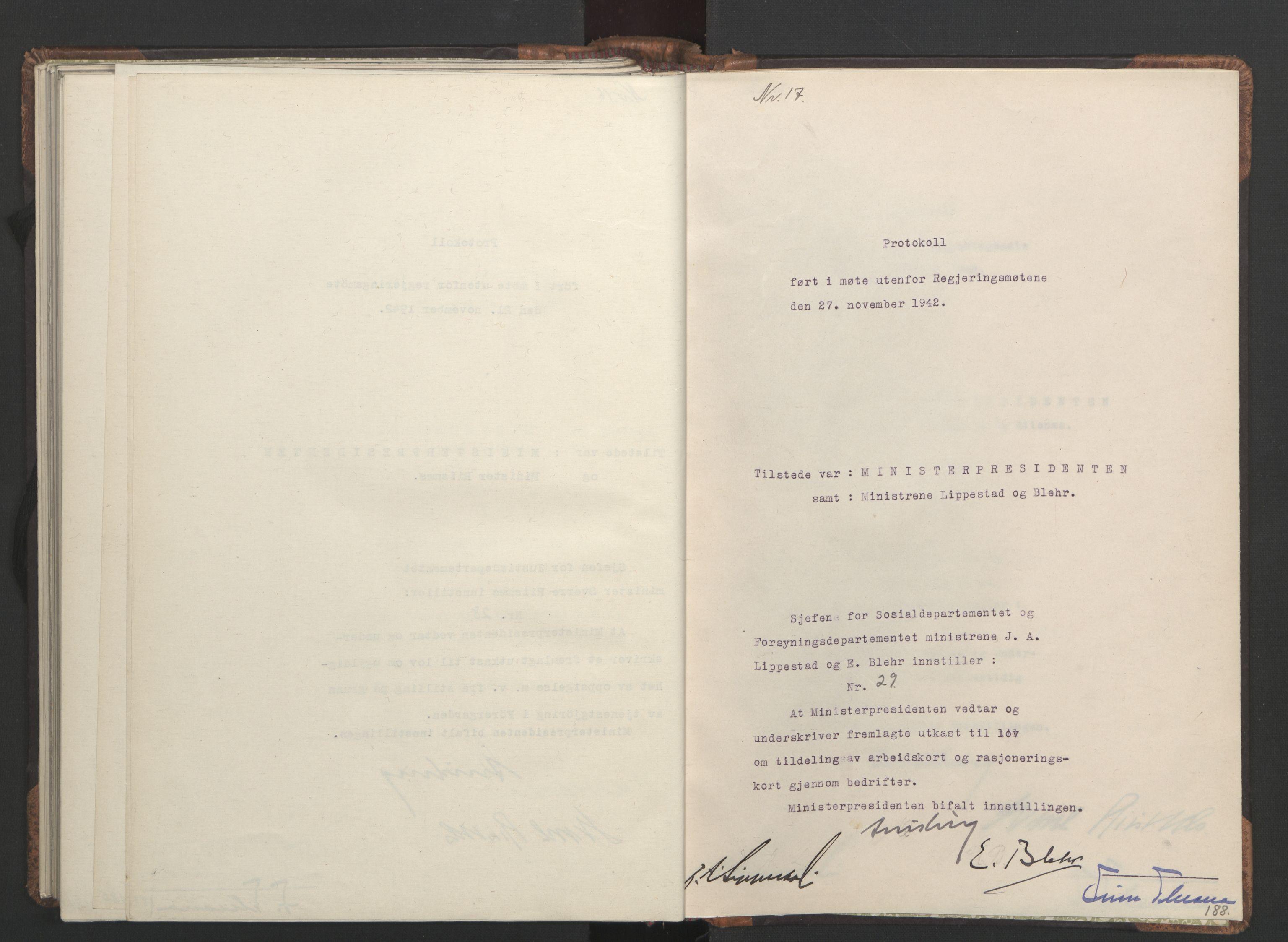 RA, NS-administrasjonen 1940-1945 (Statsrådsekretariatet, de kommisariske statsråder mm), D/Da/L0001: Beslutninger og tillegg (1-952 og 1-32), 1942, s. 187b-188a