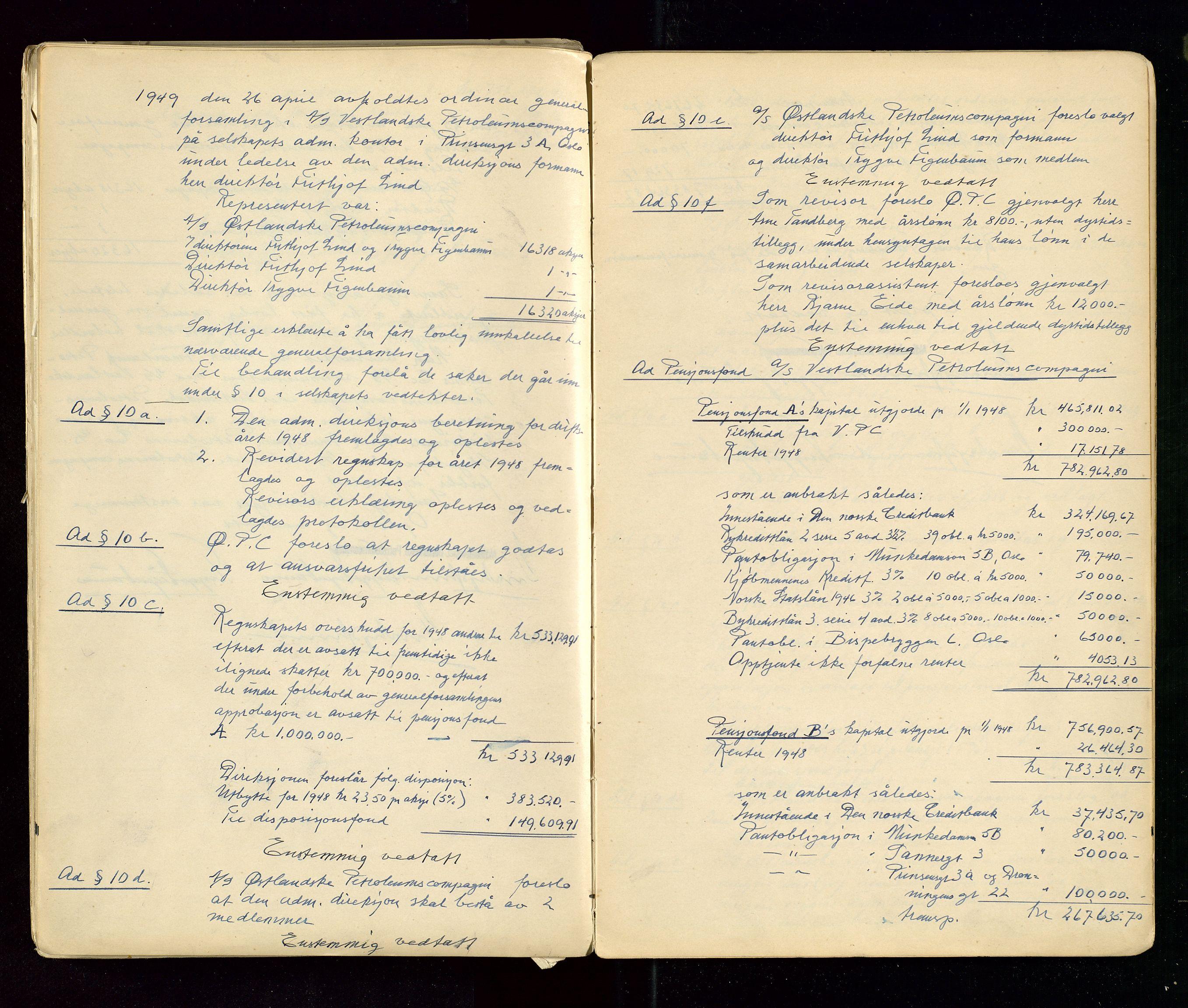 SAST, PA 1533 - A/S Vestlandske Petroleumscompani, A/Aa/L0001: Generalforsamlinger og styreprotokoller, 1890-1953, s. 140