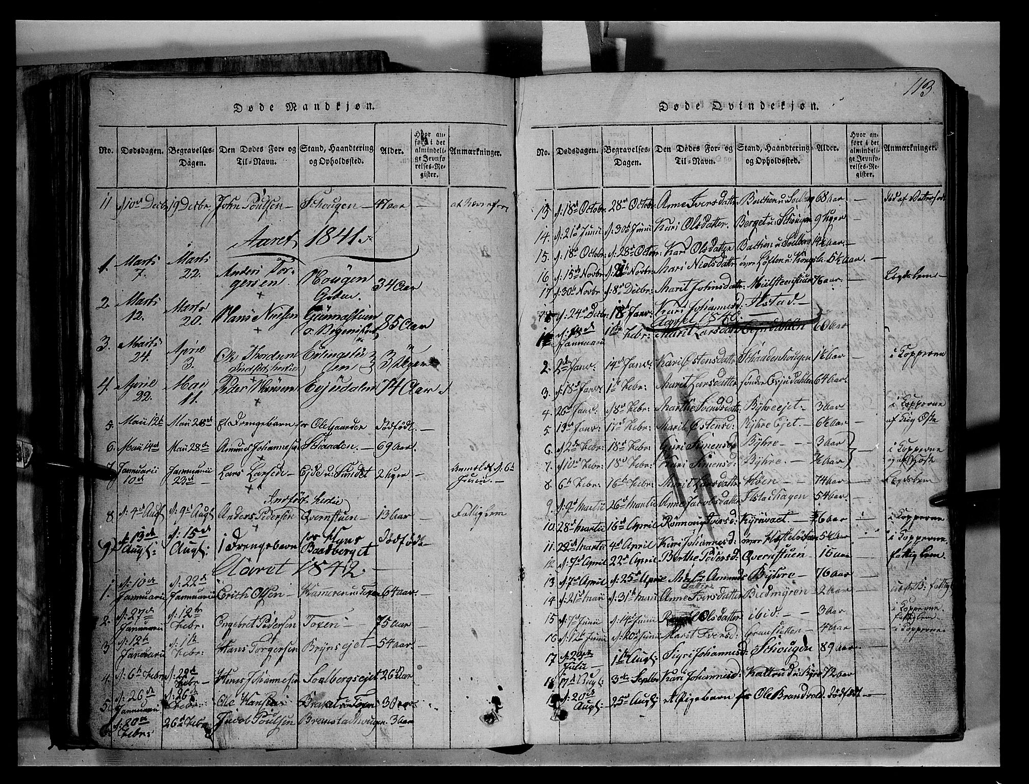SAH, Fron prestekontor, H/Ha/Hab/L0004: Klokkerbok nr. 4, 1816-1850, s. 113