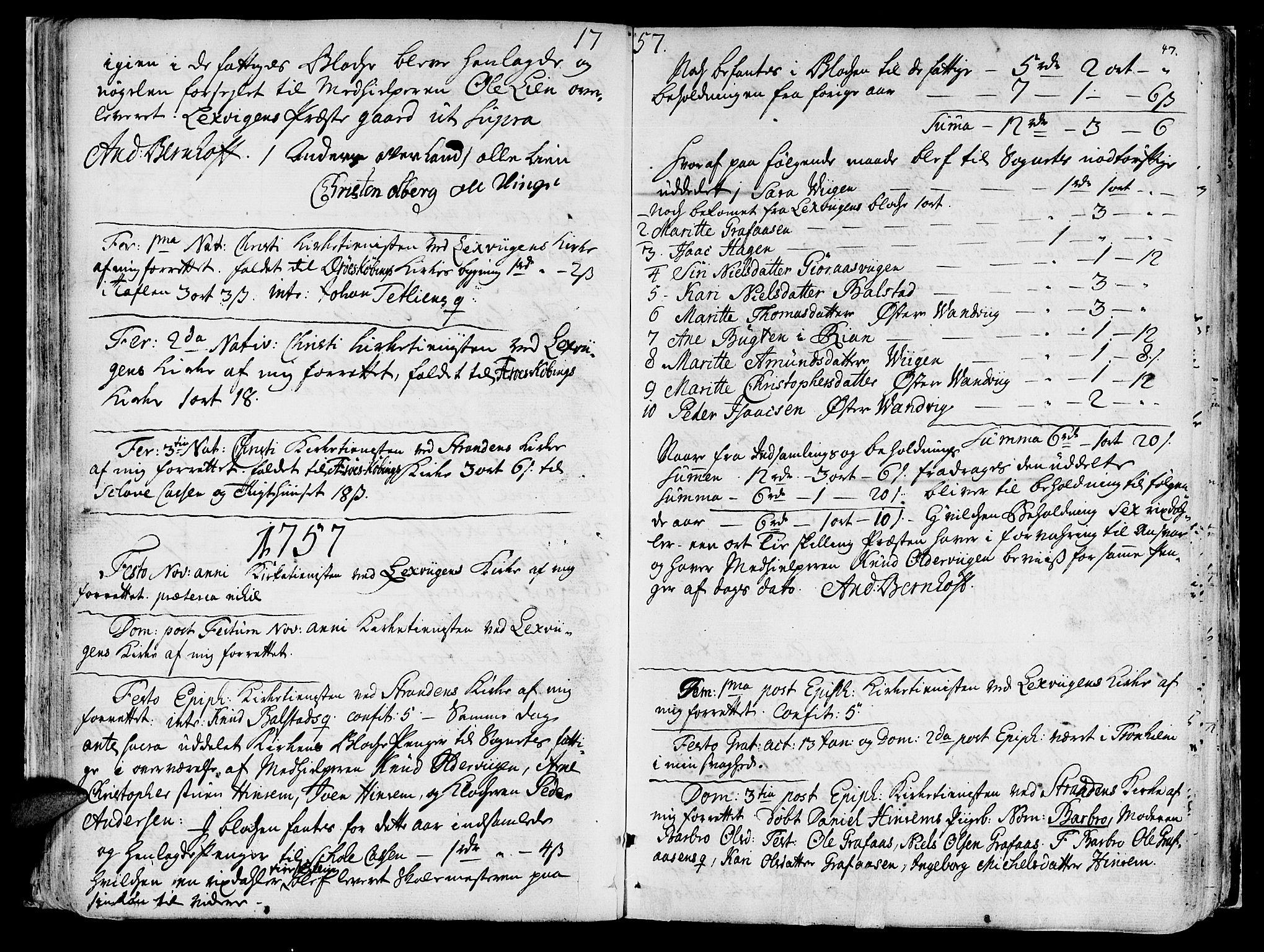 SAT, Ministerialprotokoller, klokkerbøker og fødselsregistre - Nord-Trøndelag, 701/L0003: Ministerialbok nr. 701A03, 1751-1783, s. 47