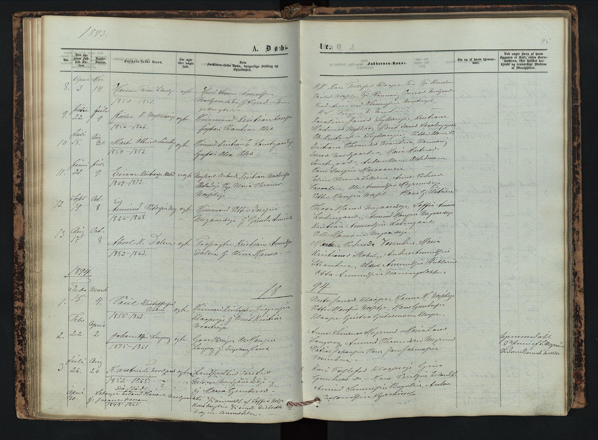 SAH, Vestre Gausdal prestekontor, Klokkerbok nr. 2, 1874-1897, s. 45