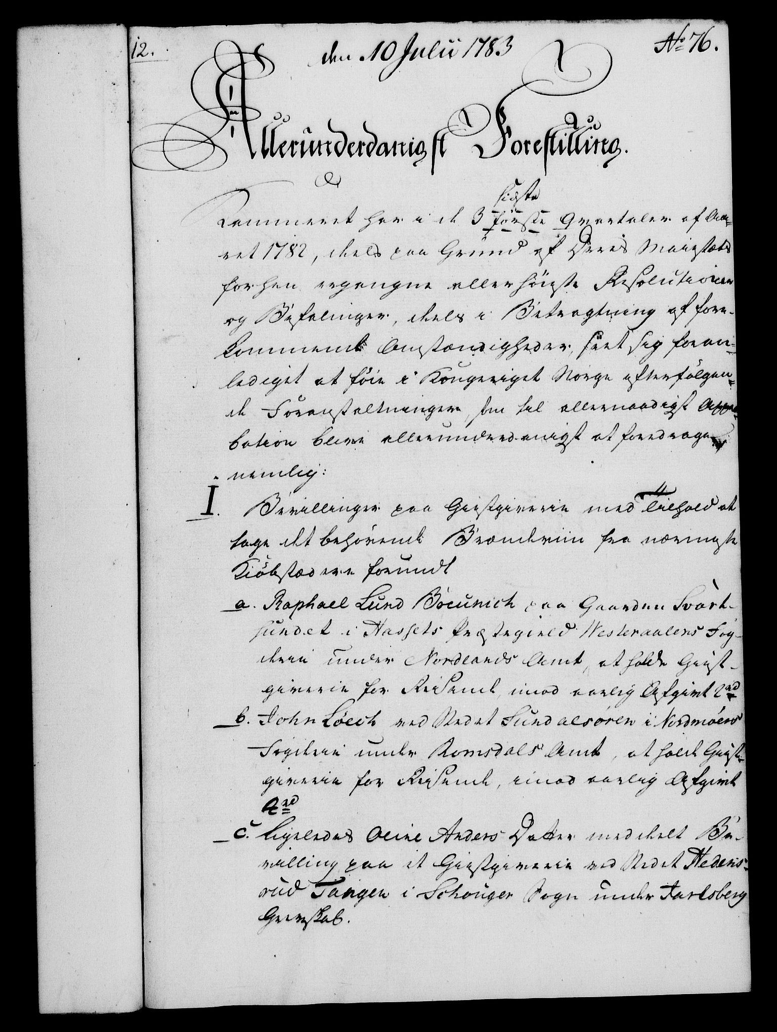 RA, Rentekammeret, Kammerkanselliet, G/Gf/Gfa/L0065: Norsk relasjons- og resolusjonsprotokoll (merket RK 52.65), 1783, s. 576