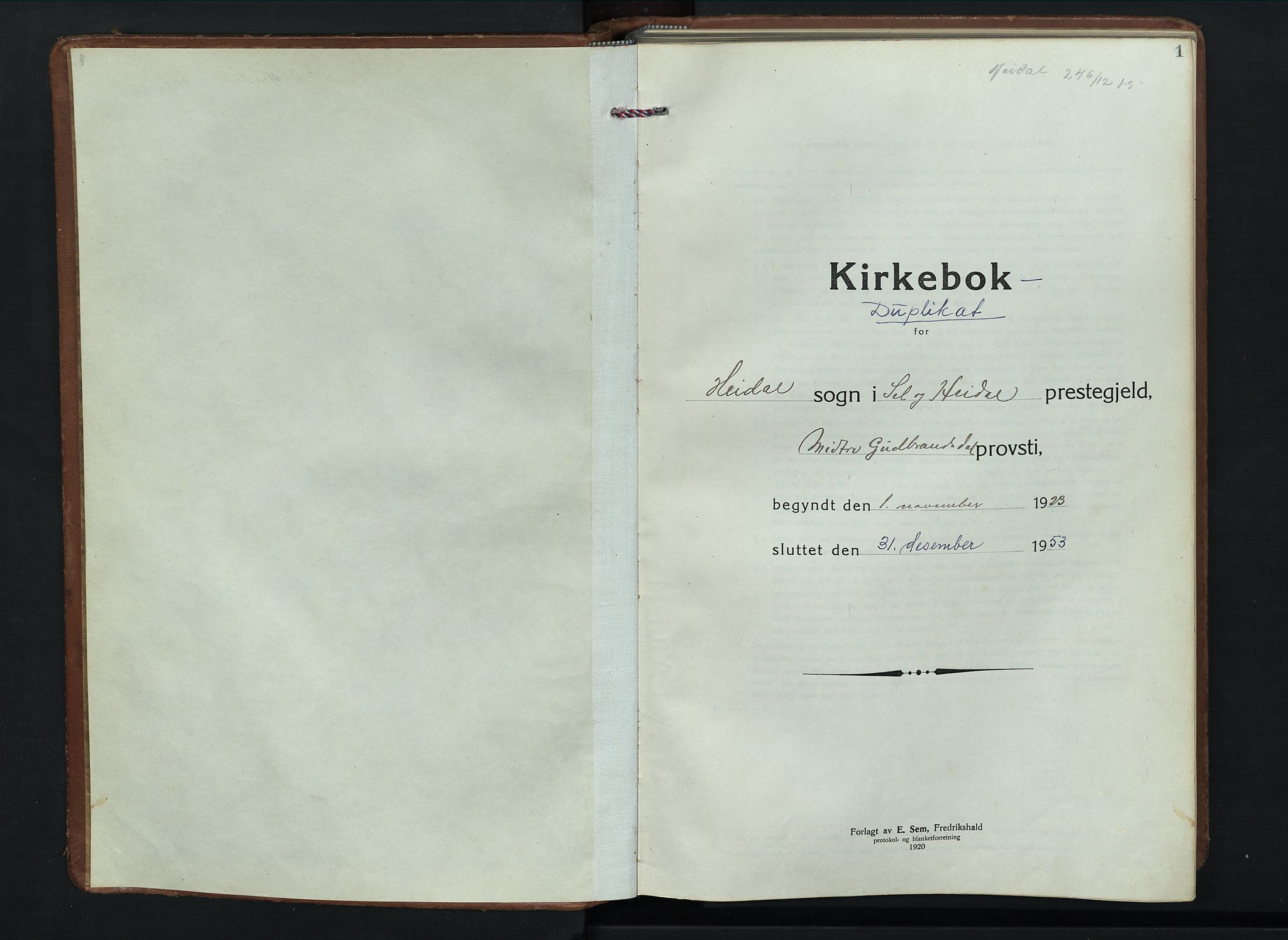 SAH, Sel prestekontor, Klokkerbok nr. 6, 1923-1953, s. 1
