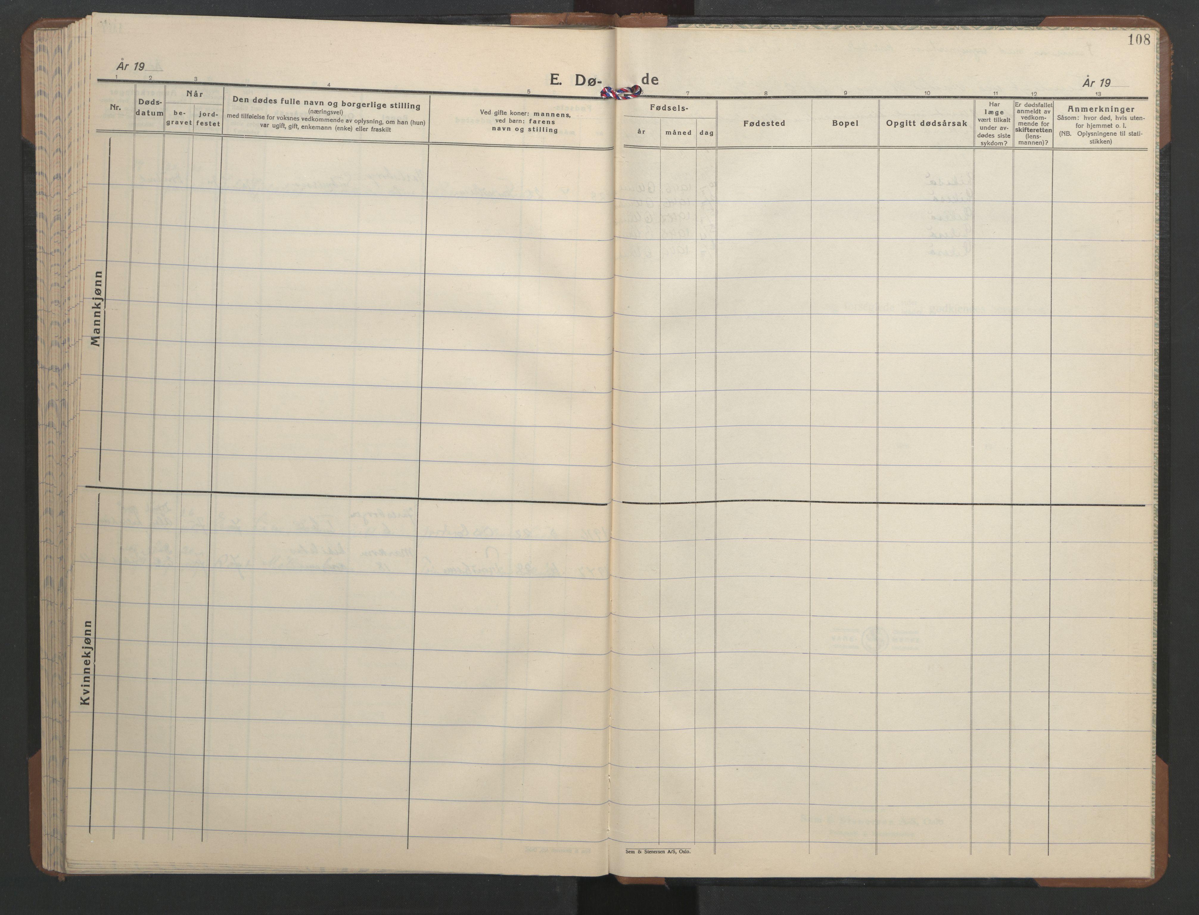 SAT, Ministerialprotokoller, klokkerbøker og fødselsregistre - Sør-Trøndelag, 606/L0315: Klokkerbok nr. 606C11, 1938-1947, s. 108