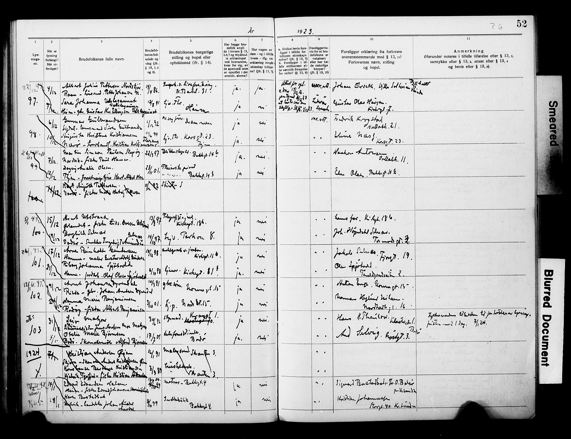 SAT, Ministerialprotokoller, klokkerbøker og fødselsregistre - Sør-Trøndelag, 604/L0196: Lysningsprotokoll nr. 604A17, 1919-1927, s. 52