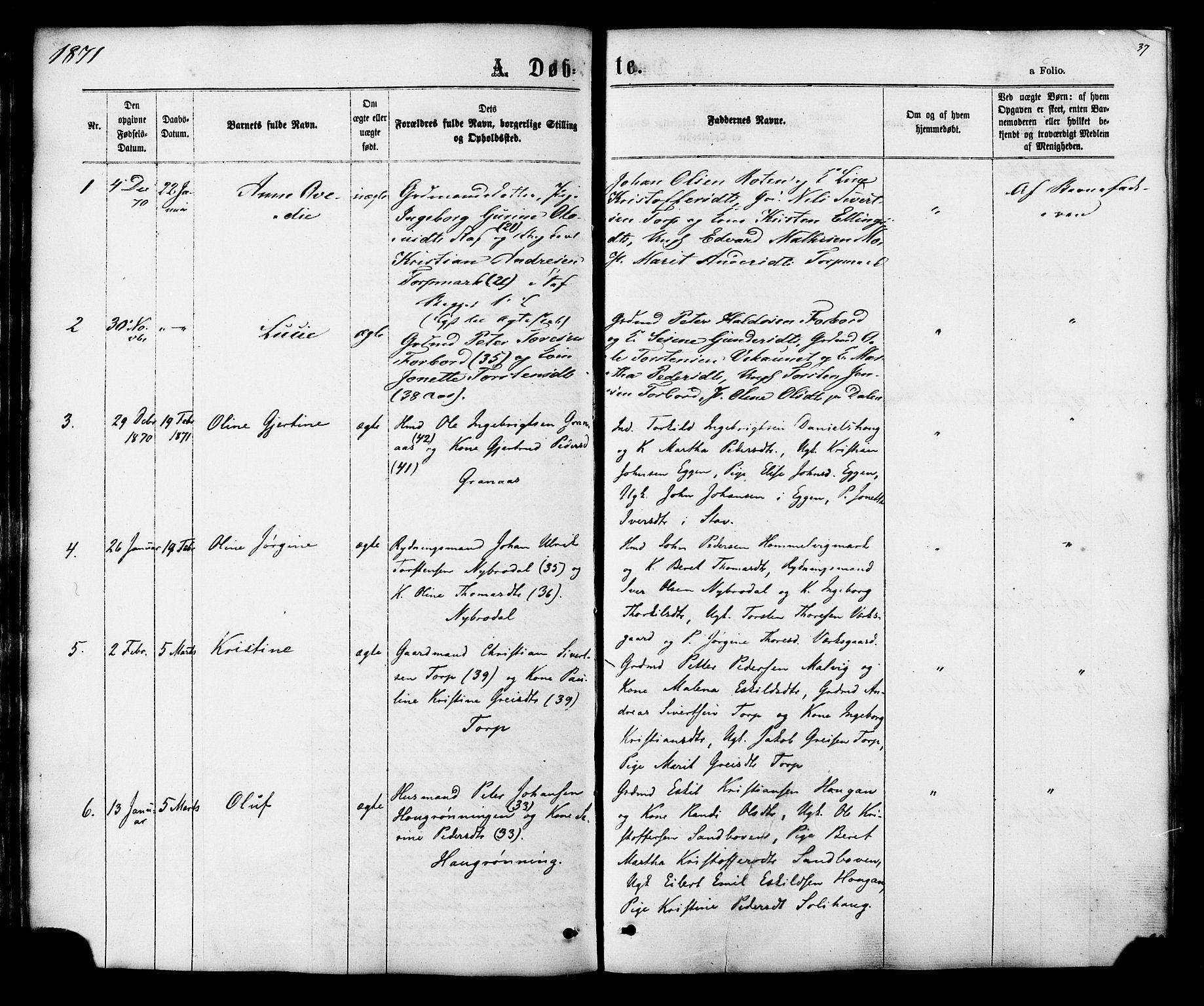 SAT, Ministerialprotokoller, klokkerbøker og fødselsregistre - Sør-Trøndelag, 616/L0409: Ministerialbok nr. 616A06, 1865-1877, s. 37
