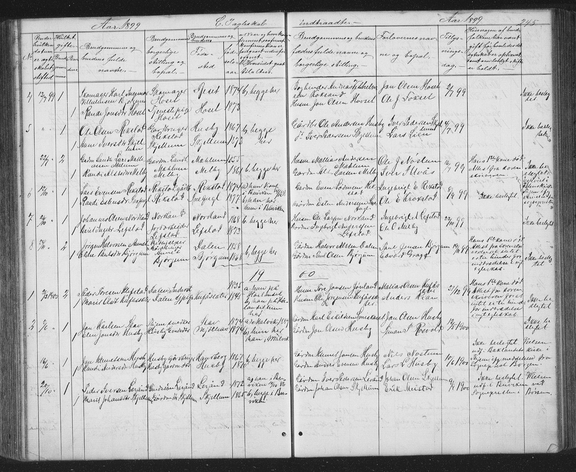SAT, Ministerialprotokoller, klokkerbøker og fødselsregistre - Sør-Trøndelag, 667/L0798: Klokkerbok nr. 667C03, 1867-1929, s. 245