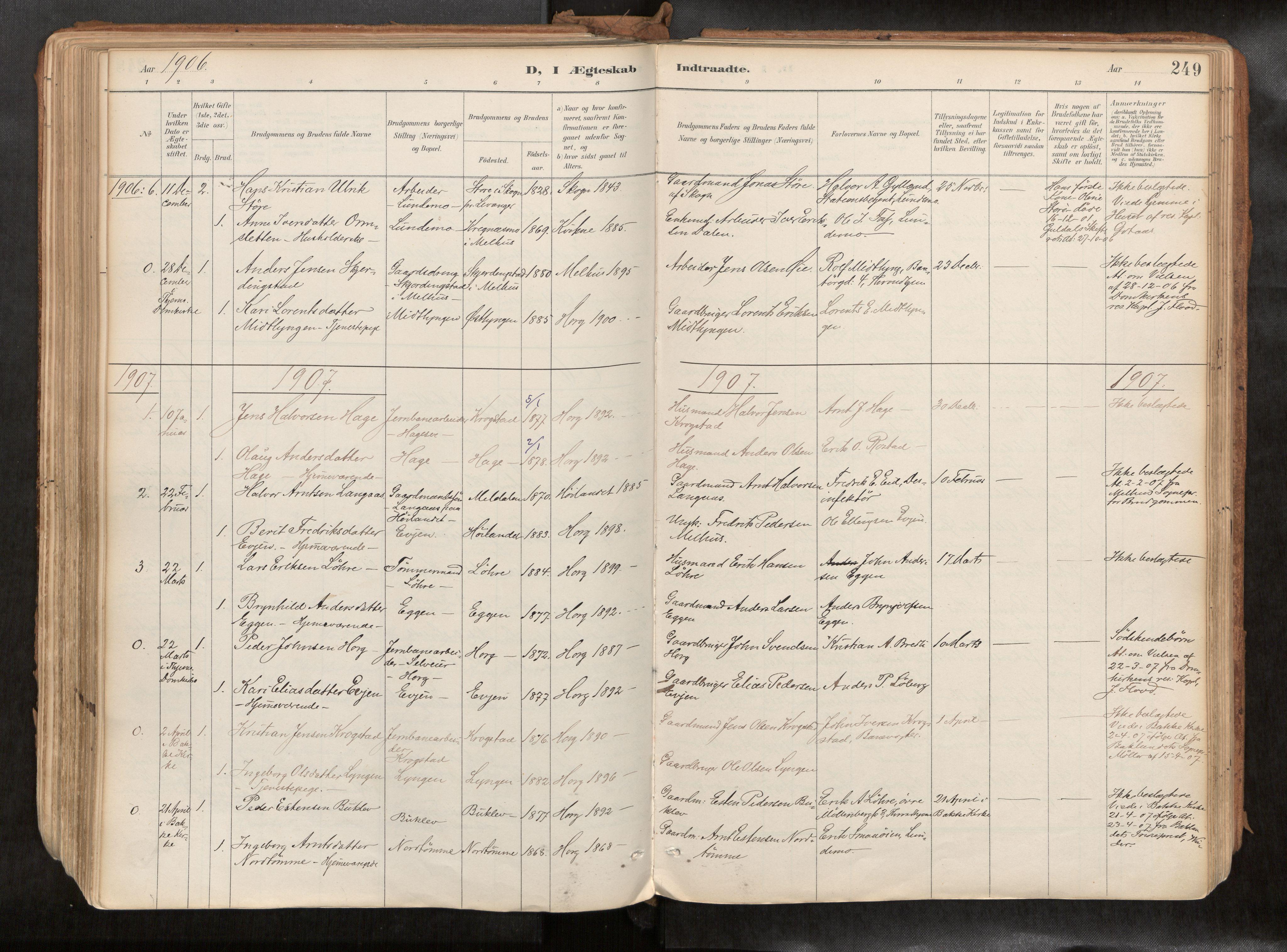 SAT, Ministerialprotokoller, klokkerbøker og fødselsregistre - Sør-Trøndelag, 692/L1105b: Ministerialbok nr. 692A06, 1891-1934, s. 249